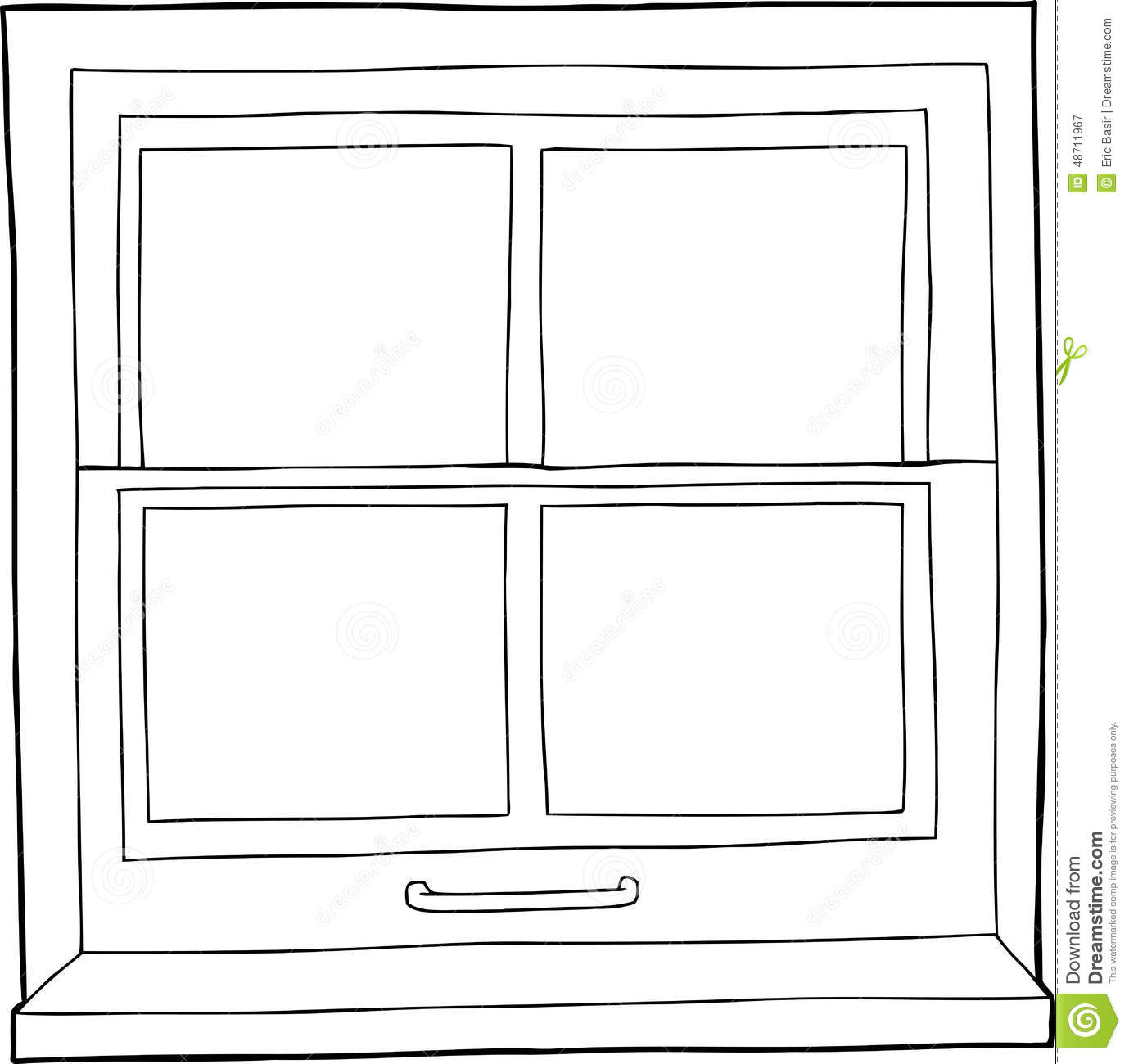 Outline Cartoon Window Stock Illustration Illustration Of