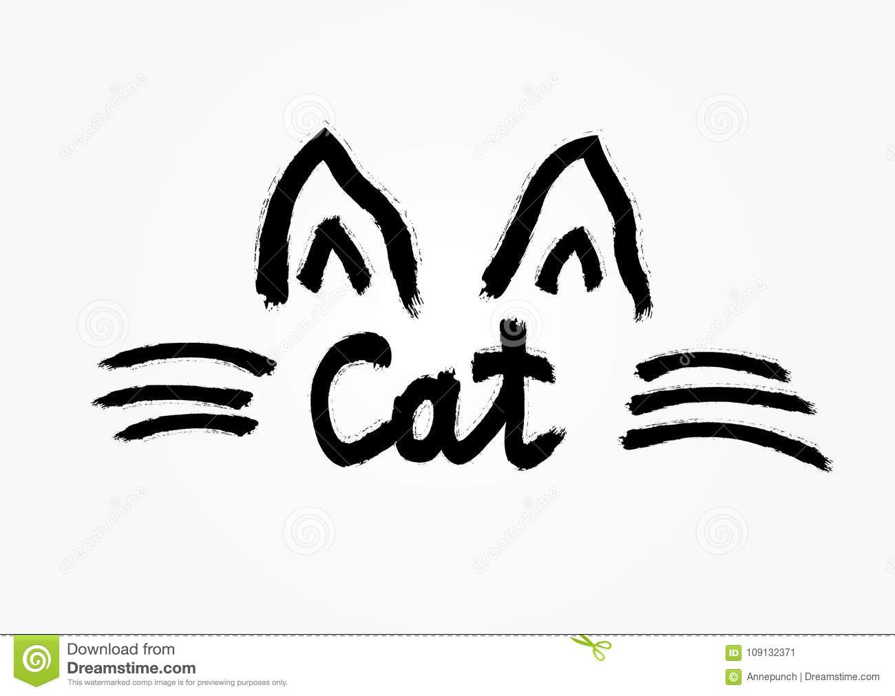Outline of the cat`s ears and whiskers drawn by hand with rough brush. Handwritten text Cat.