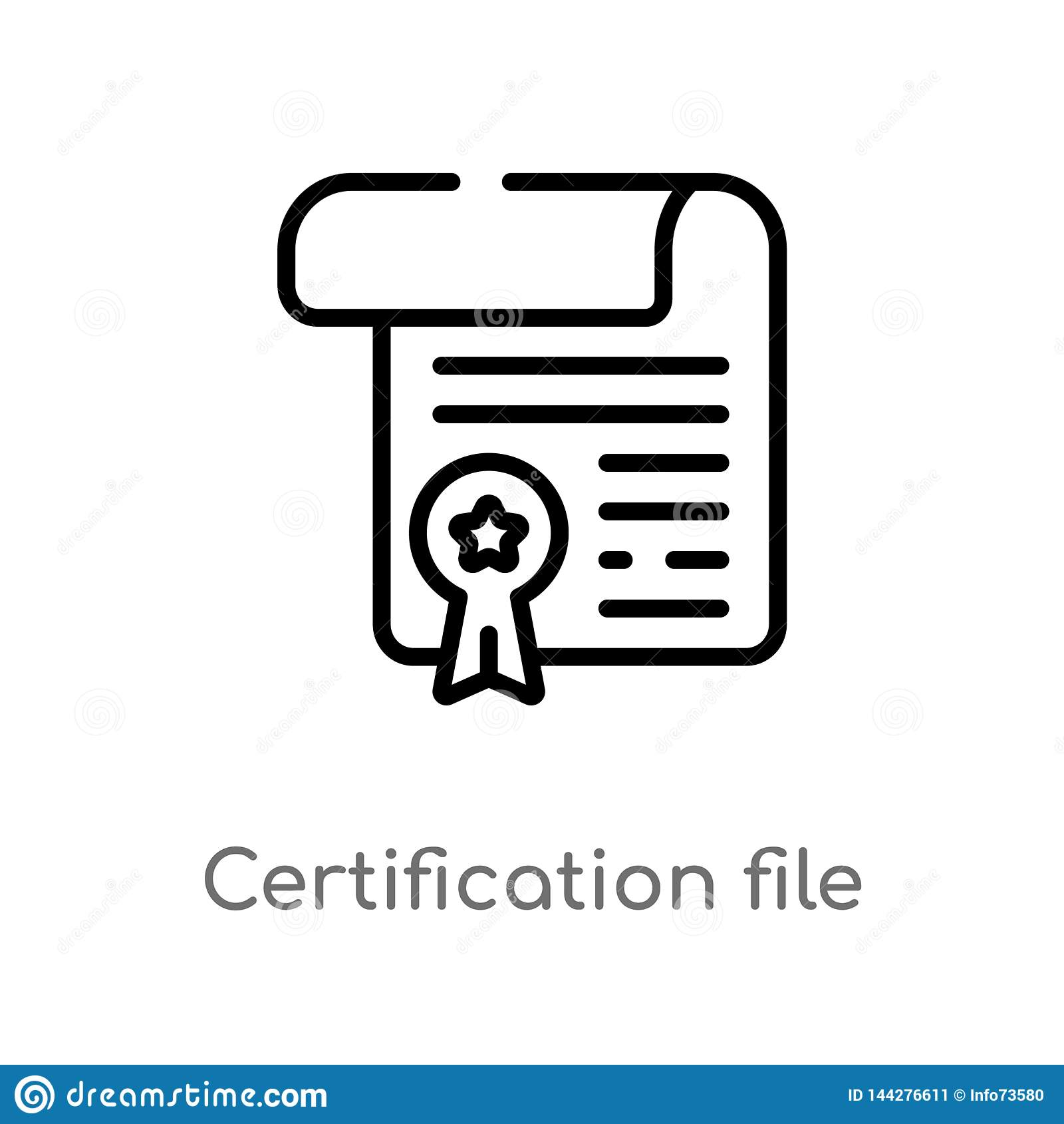outline certification file vector icon. isolated black simple line element illustration from commerce and shopping concept.
