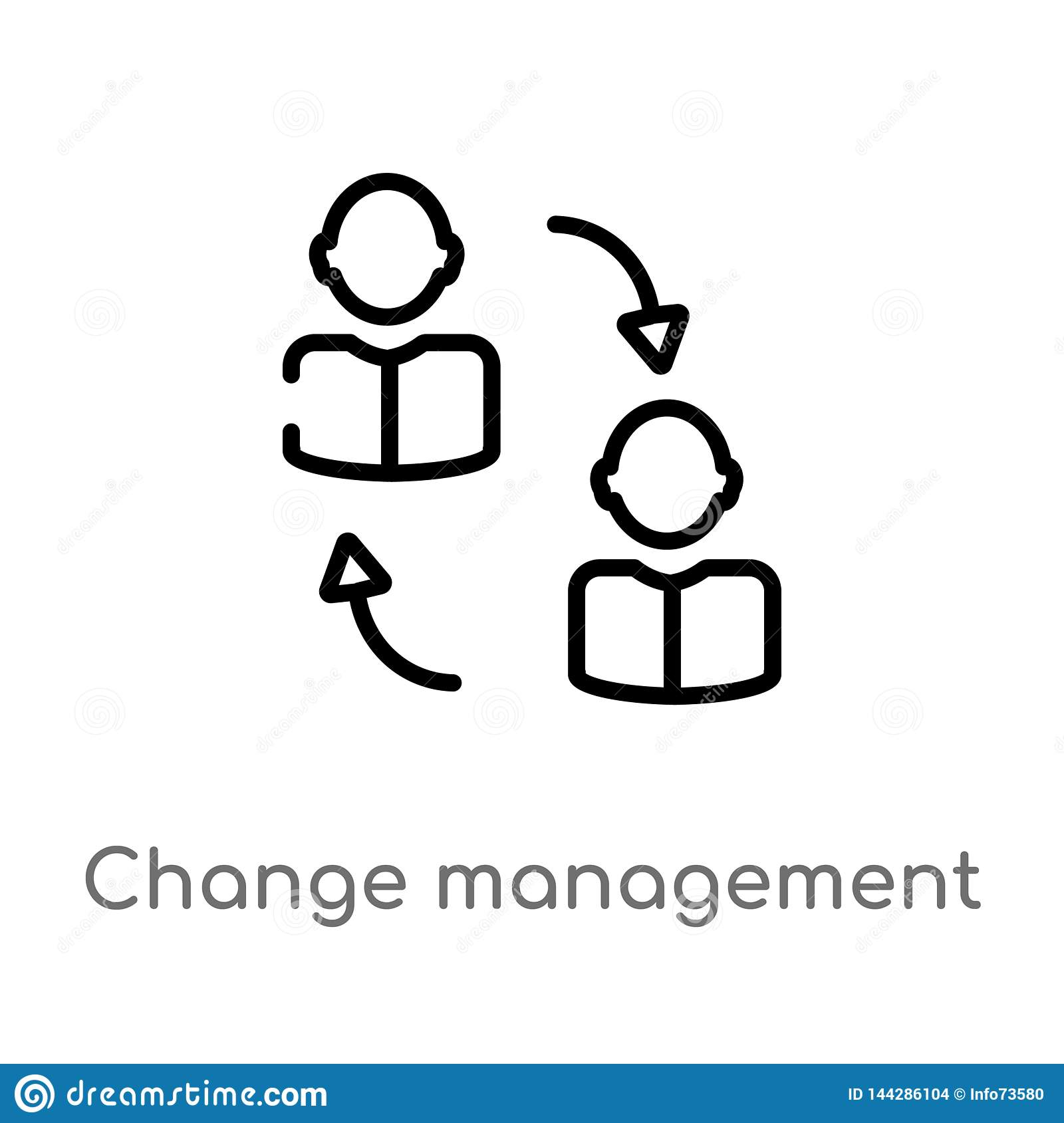 outline change management vector icon. isolated black simple line element illustration from human resources concept. editable
