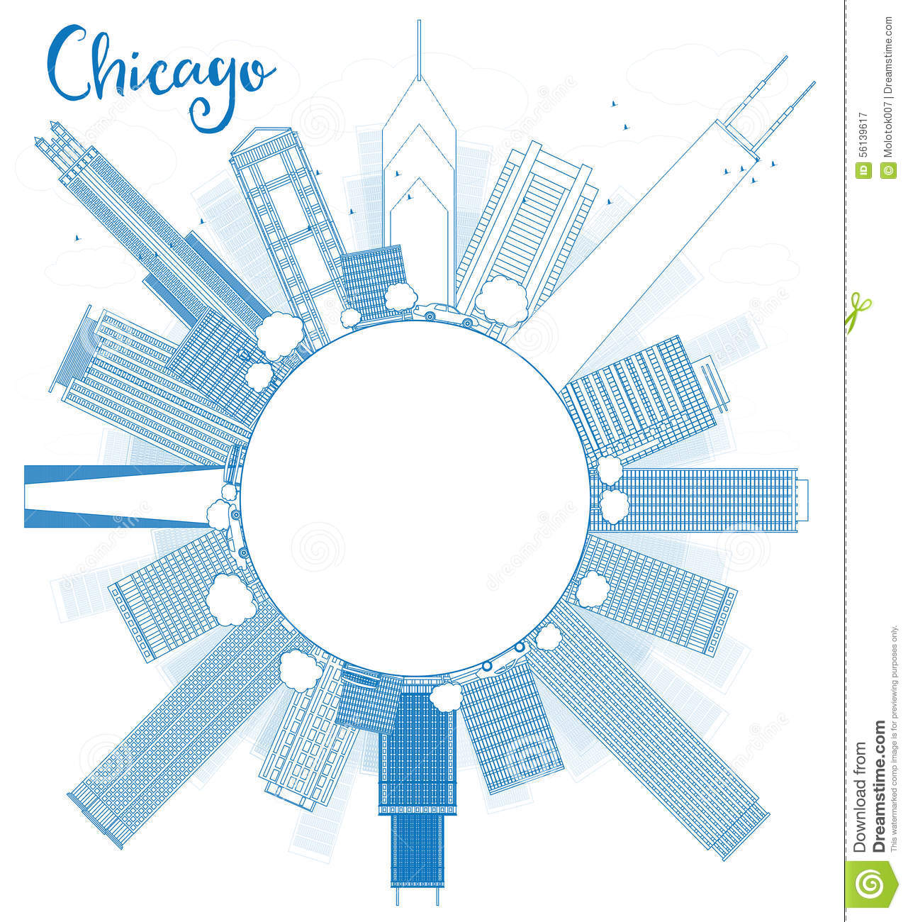 Outline Chicago City Skyline With Blue Skyscrapers And Copy Spac Stock ...