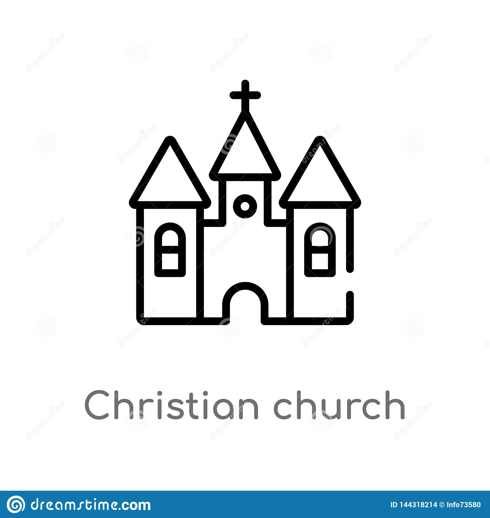 outline christian church vector icon. isolated black simple line element illustration from shapes and symbols concept. editable