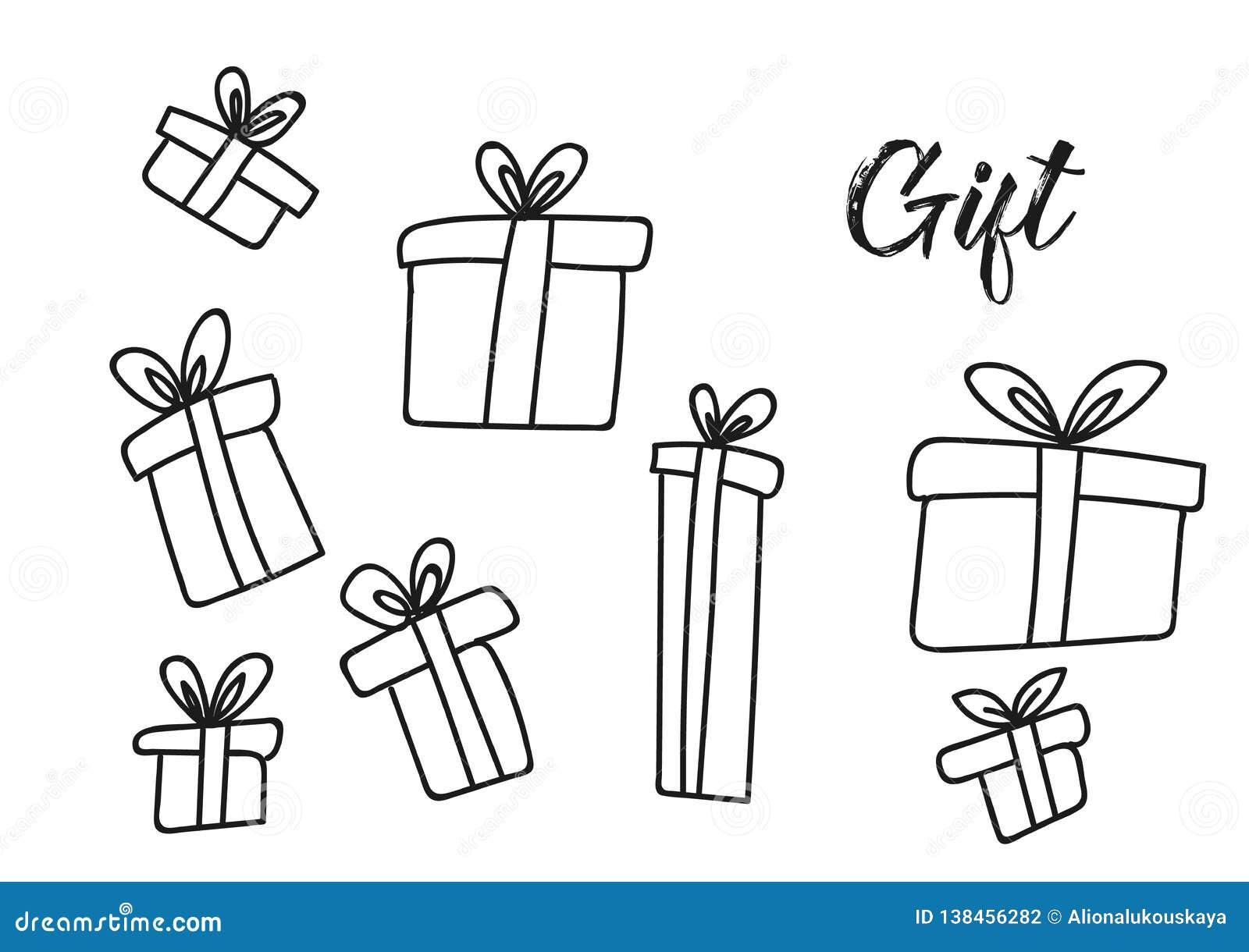 Outline Christmas Gift Box Hand Drawn Set Stock Vector ...