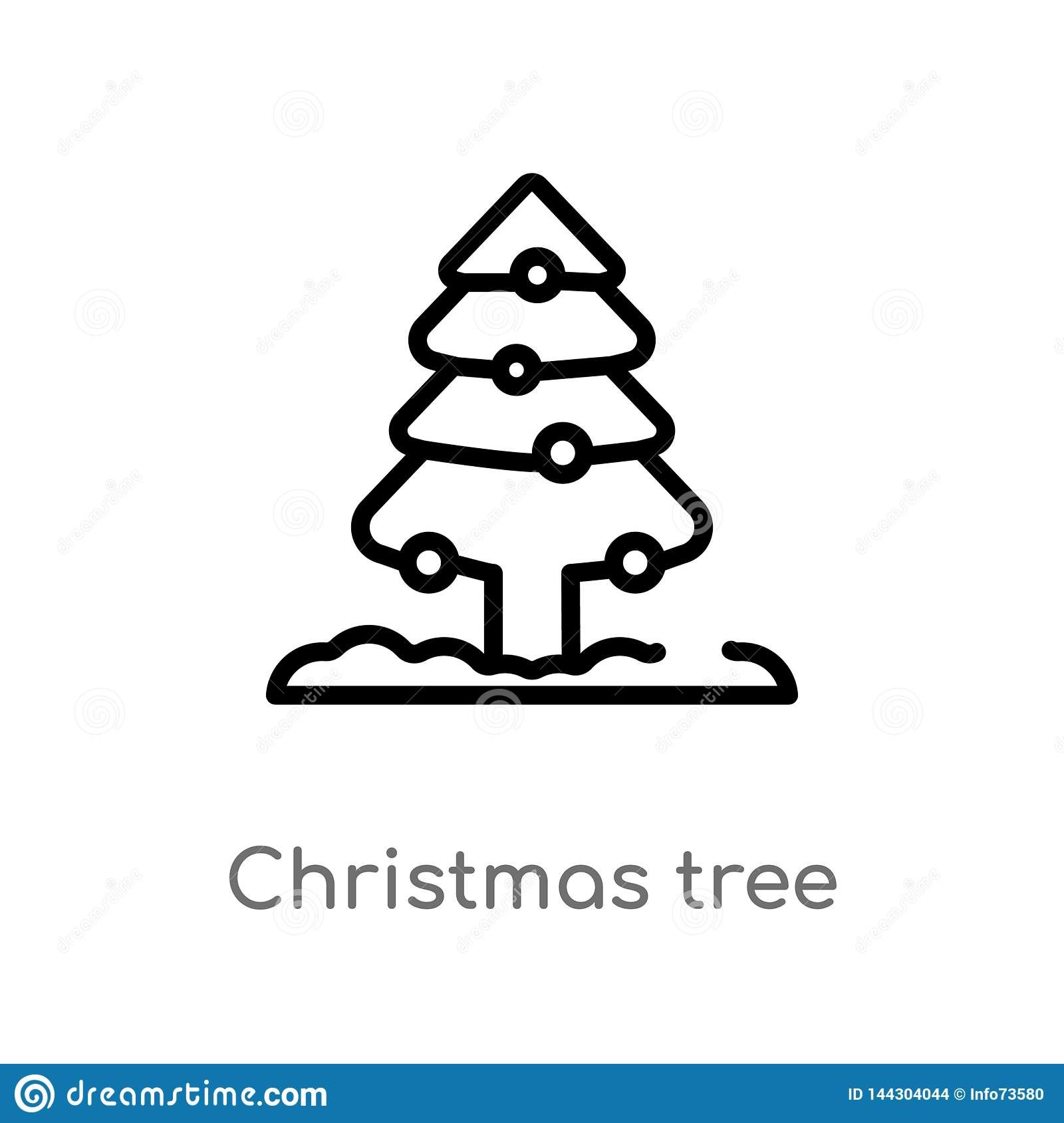 Outline Christmas Tree Vector Icon Isolated Black Simple Line