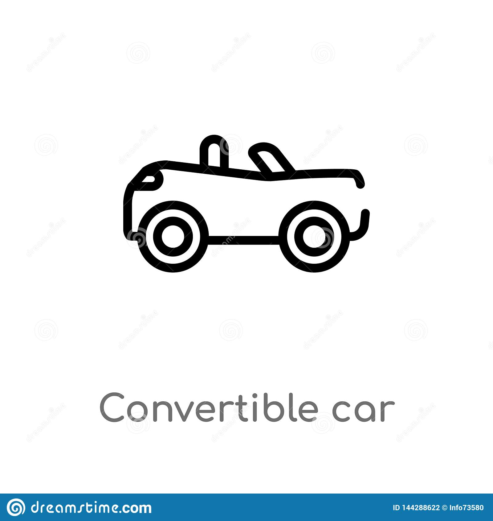 outline convertible car vector icon. isolated black simple line element illustration from mechanicons concept. editable vector