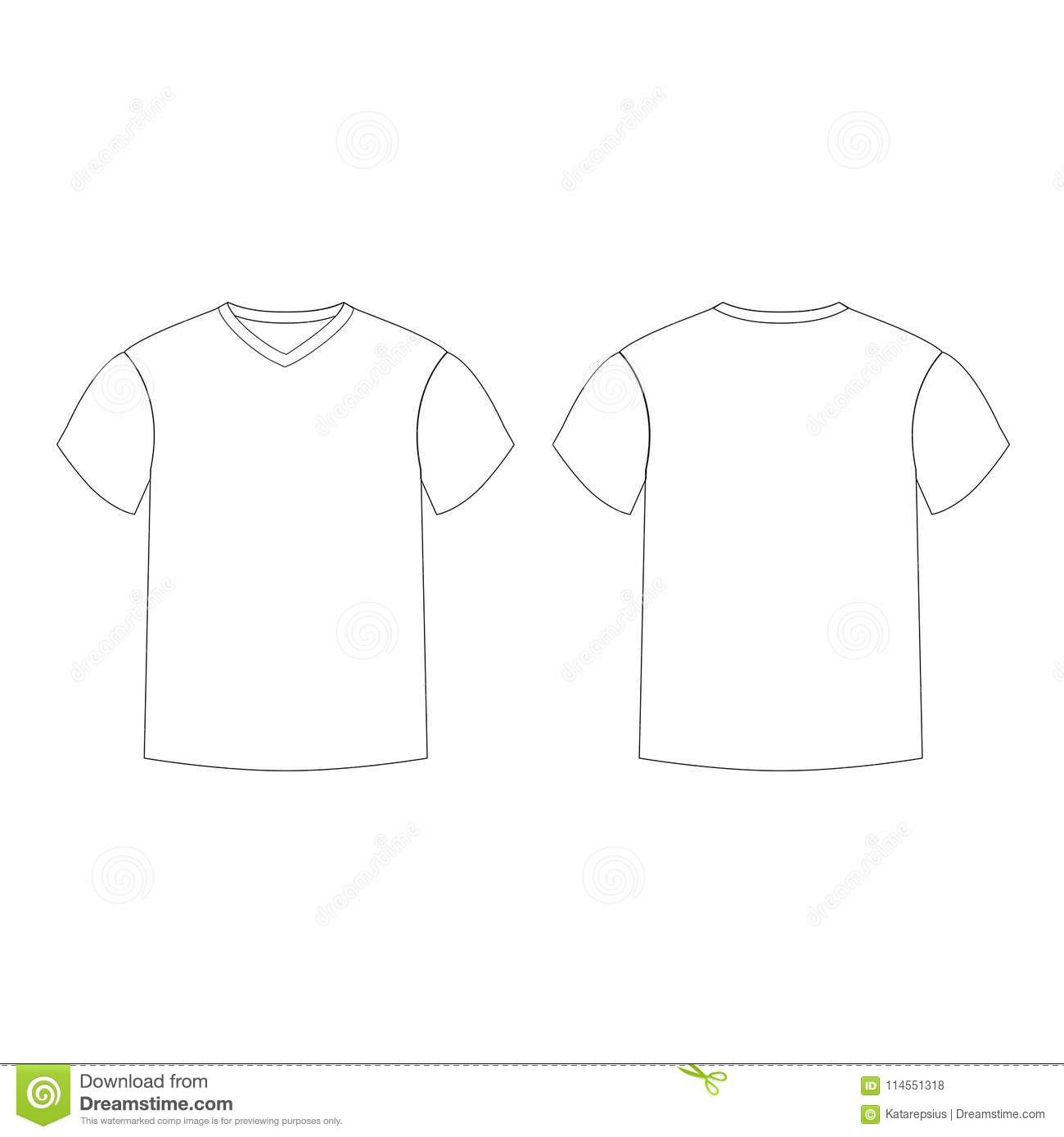 2d845d70f70b Outline countur silhouette of men`s t-shirt template v-neck front and back  side views. Vector of male t-shirt wearing illustration isolated on white  ...