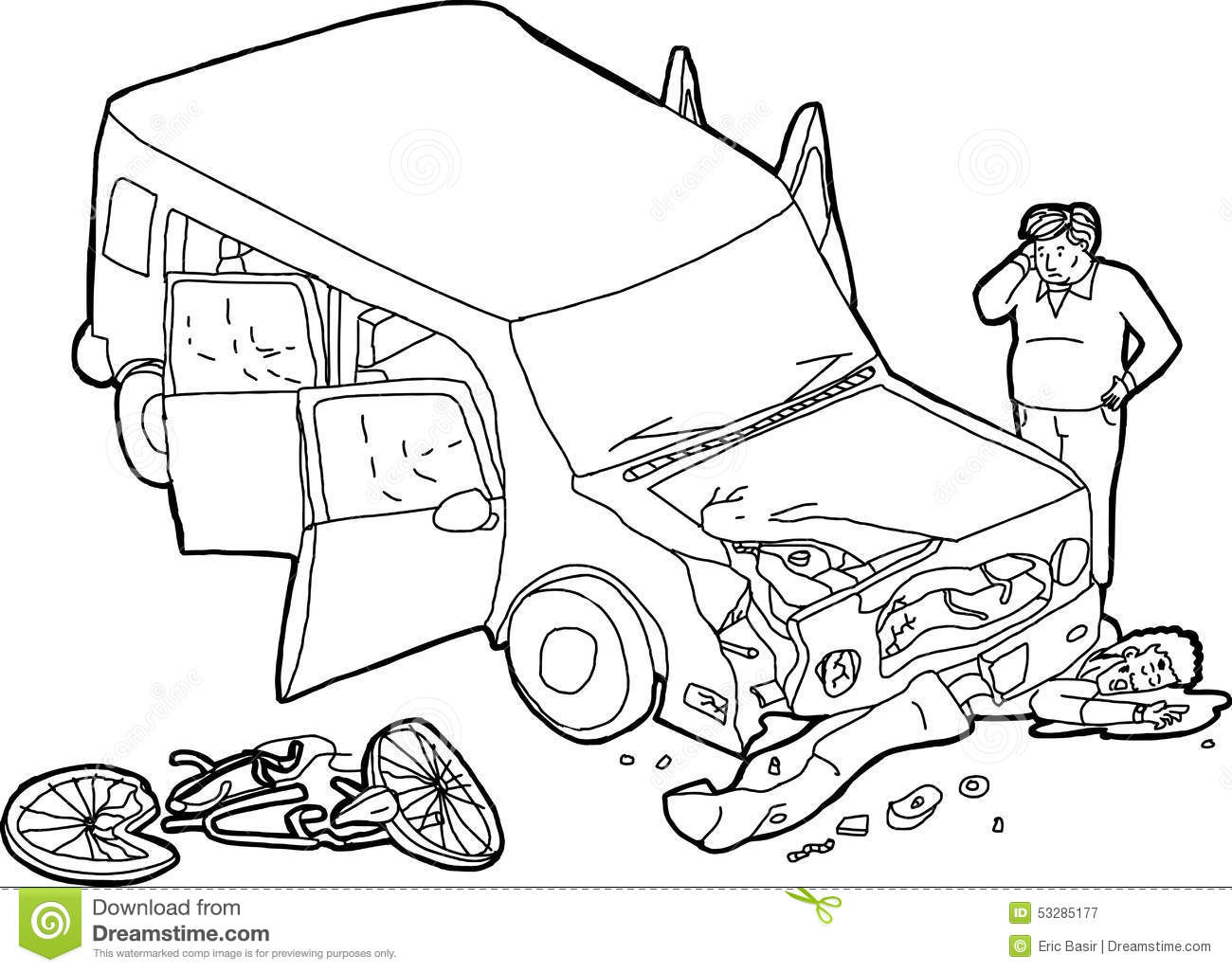 Outline Of Crashed Car And Bicyclist Stock Illustration