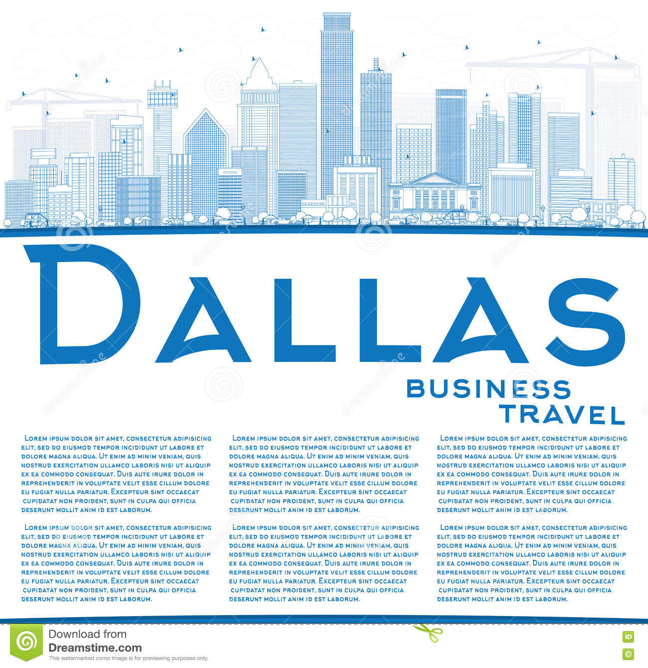 outline dallas skyline with blue buildings and copy space stock