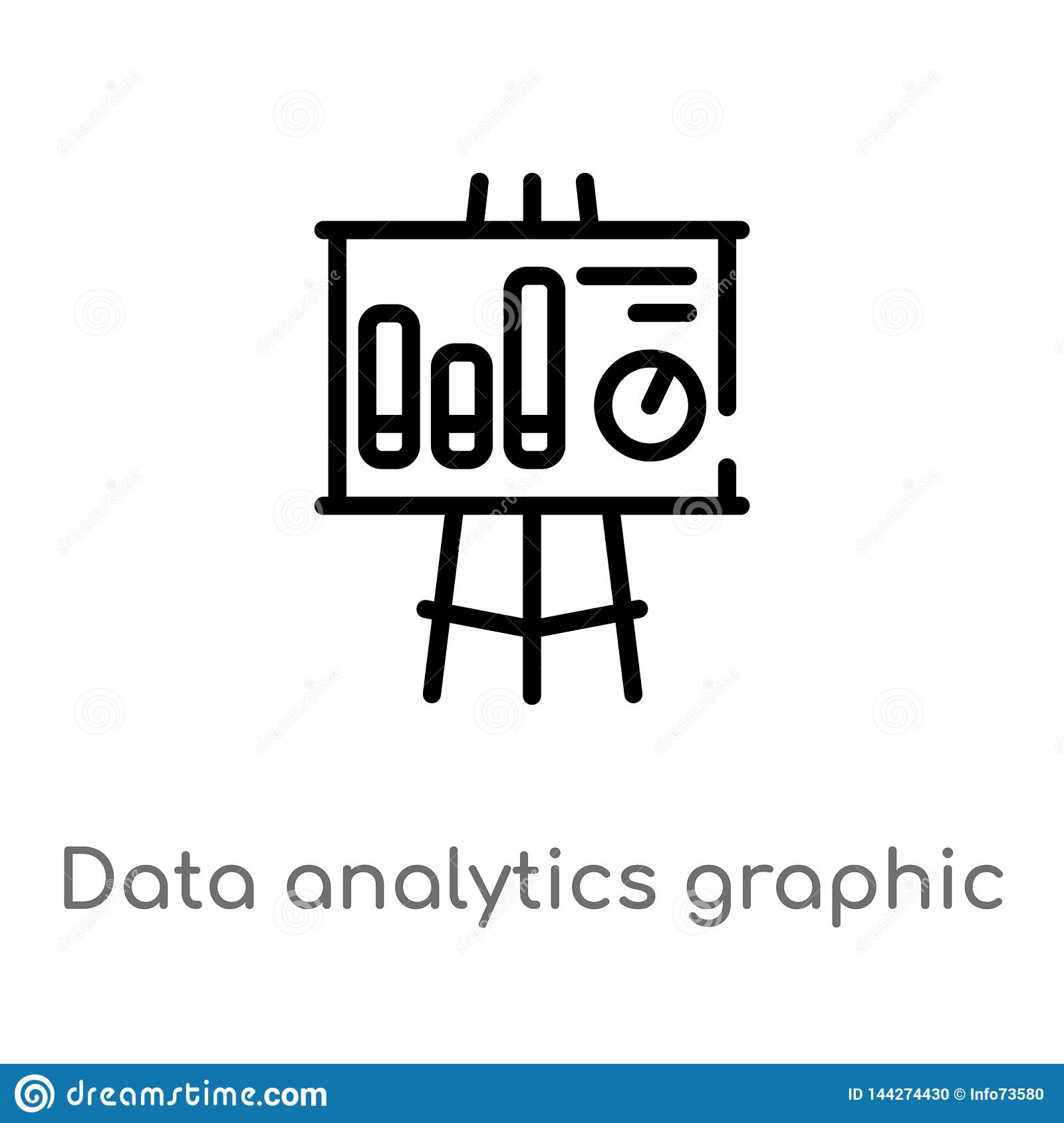 outline data analytics graphic on a presentation screen vector icon. isolated black simple line element illustration from business