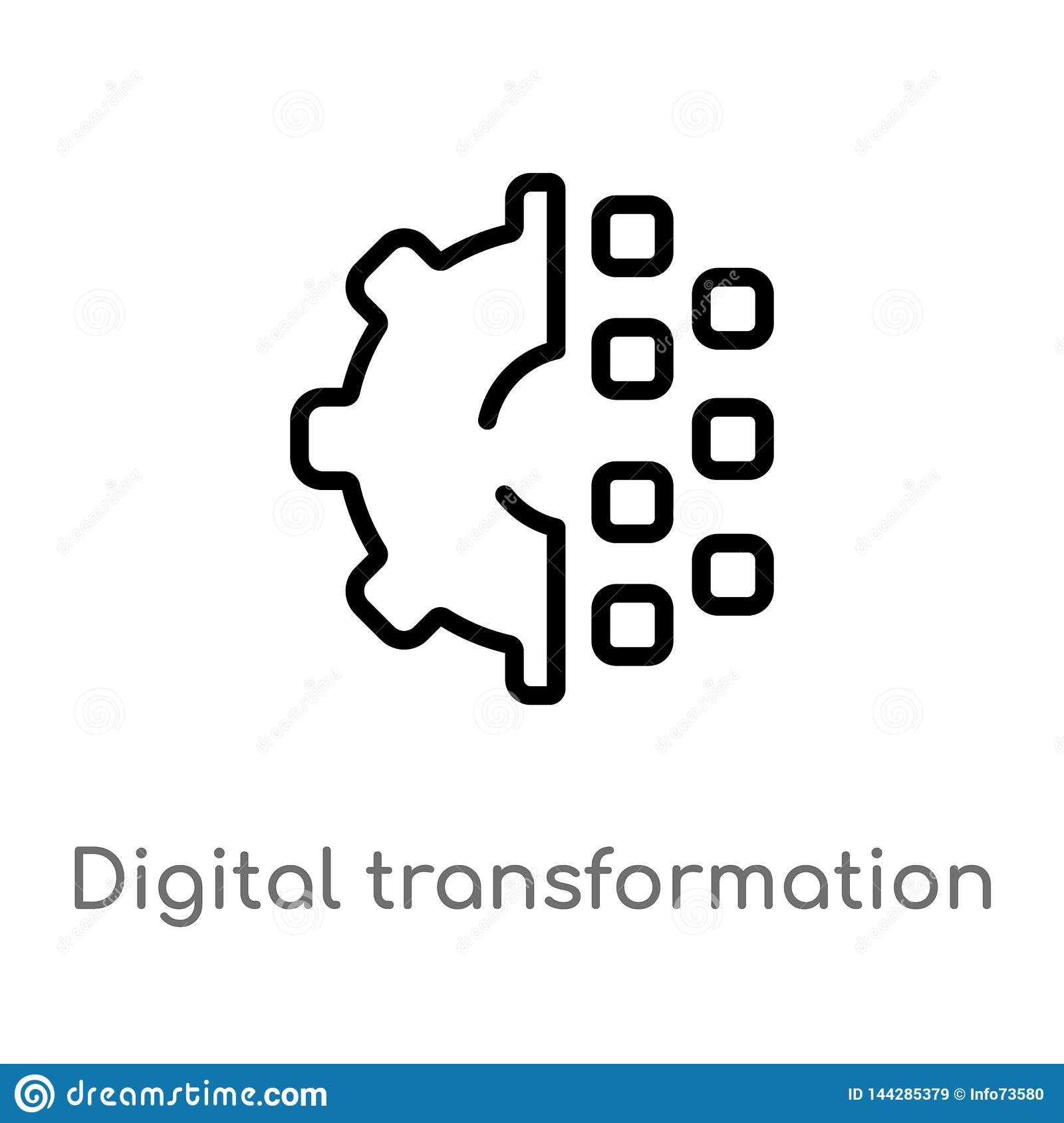 Outline Digital Transformation Vector Icon  Isolated Black