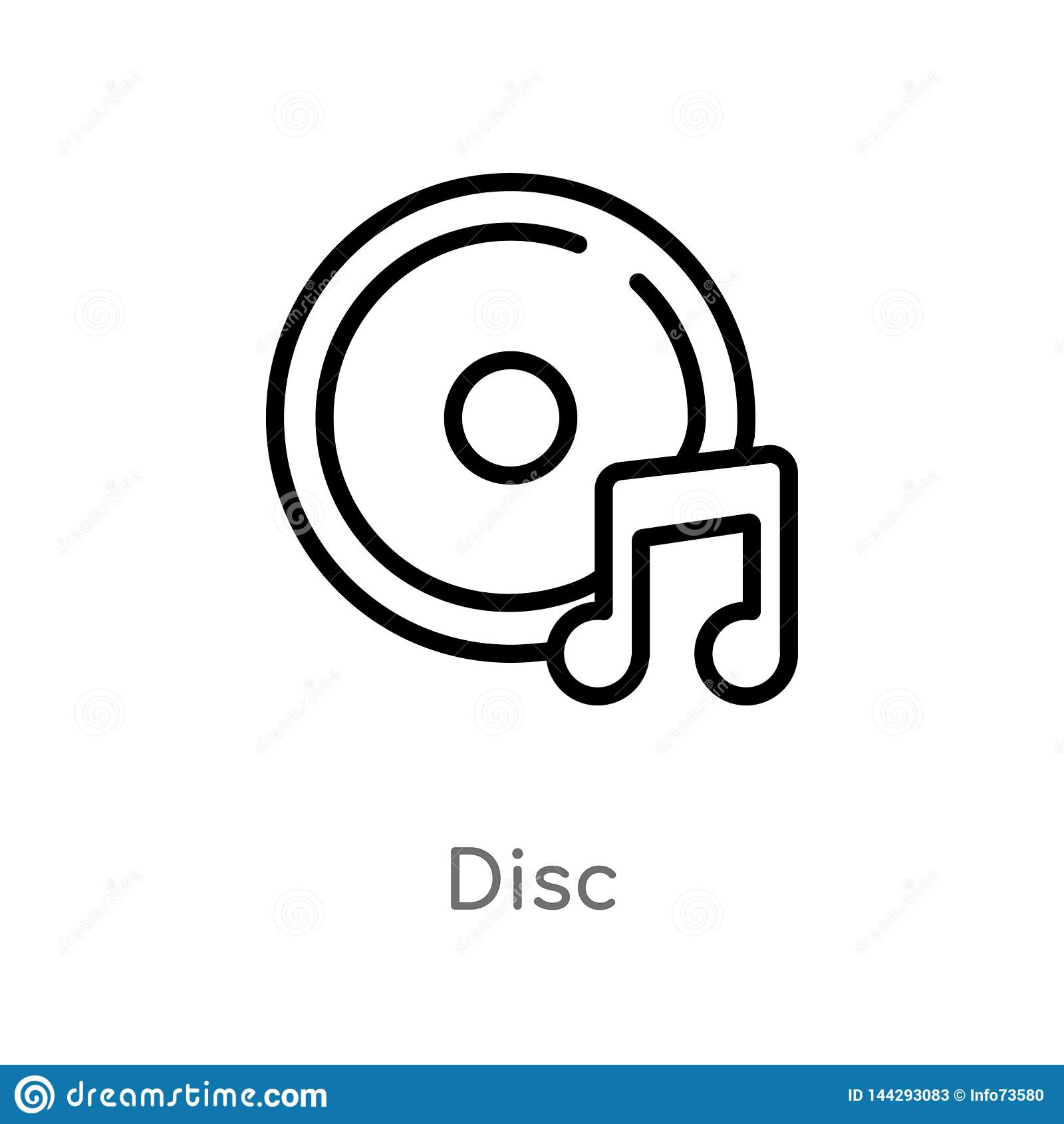 outline disc vector icon. isolated black simple line element illustration from music concept. editable vector stroke disc icon on