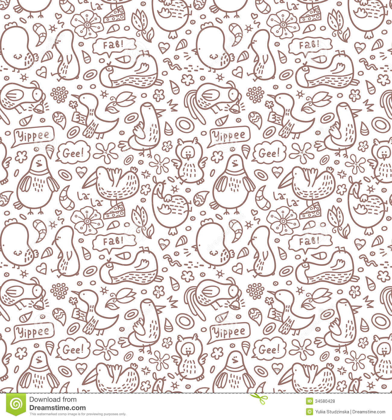 Outline Doodle Birds Pattern Royalty Free Stock Photos