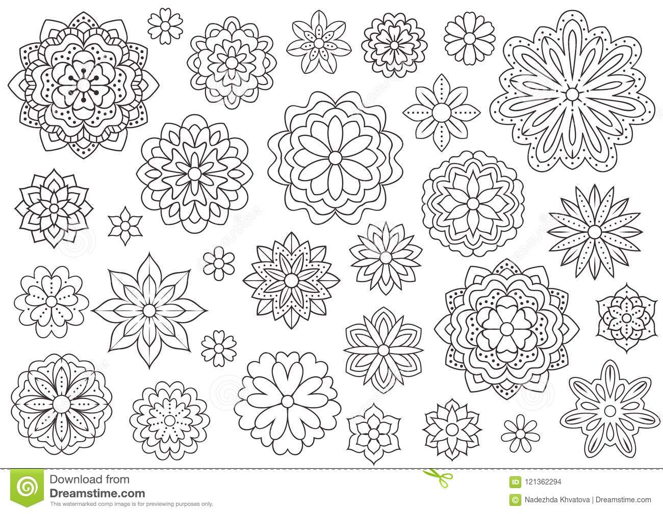 Outline Doodle Flowers For Adult Coloring Book. Beautiful Floral ...