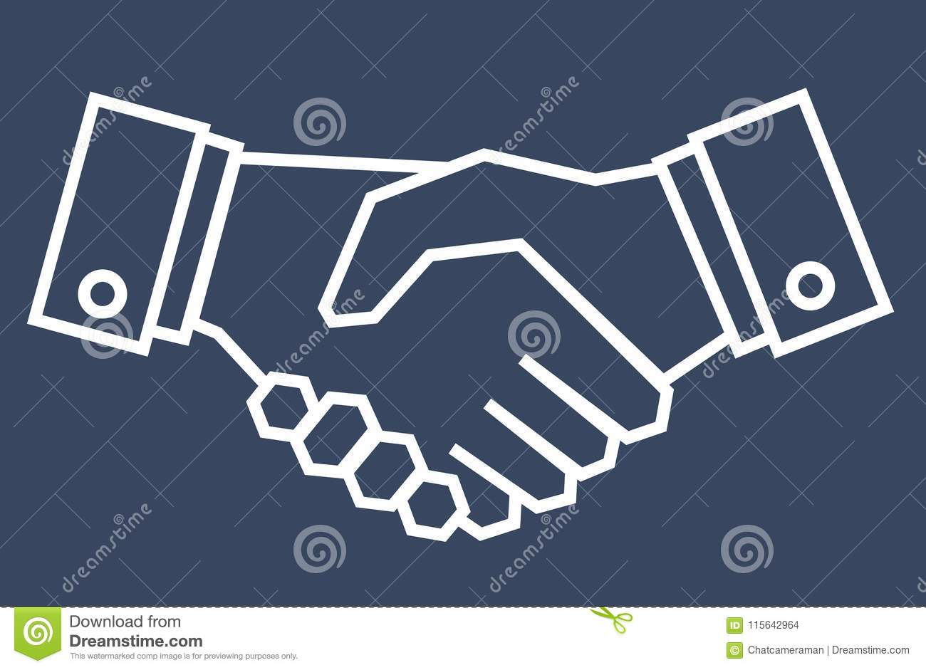 Outline Draw Handshake On Vintage Blue Background Business Coll