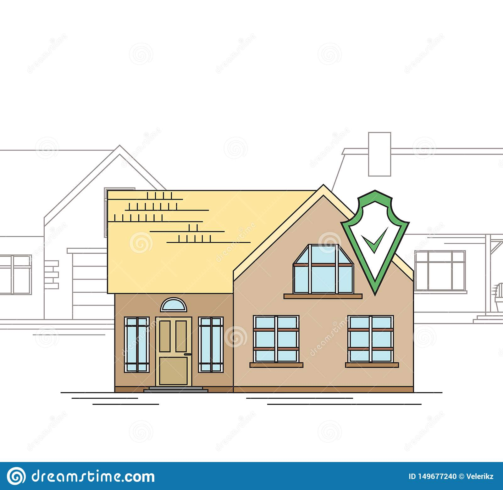 The Country House Company outline drawing of a country house with a security shield