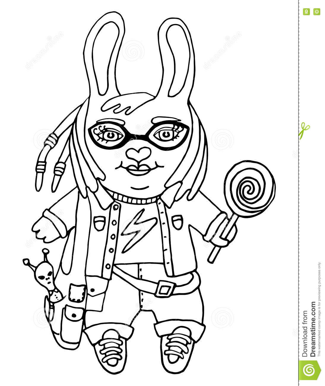 Outline Drawing A Cute Rabbit Girl Nerd In Glasses With Toy And Candy Cartoon Character On
