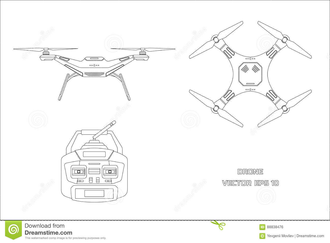 Outline Drawing Of Drone On A White Background The Control Panel Quadrocopter Front Top View