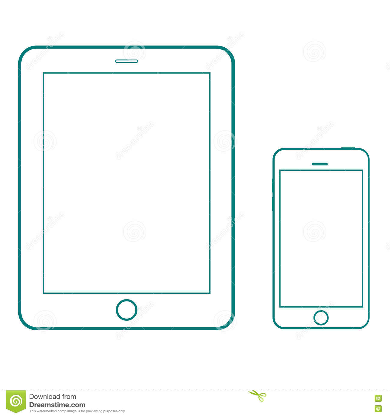 Drawing Lines With Tablet : Outline drawing modern smartphone and tablet set elegant thin