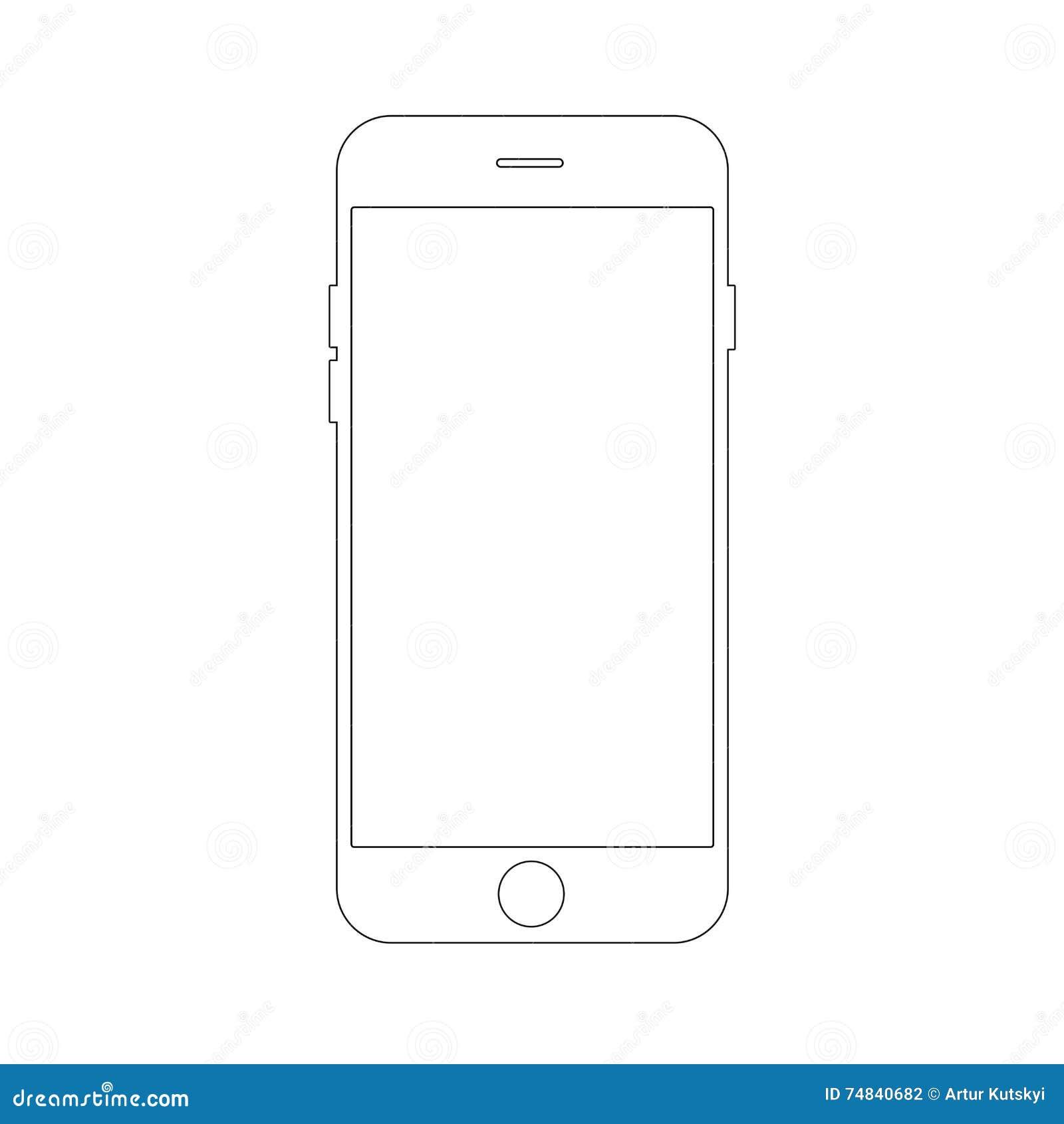 Kleurplaat Mobiele Telefoon Outline Drawing Smartphone Concept Elegant Thin Line