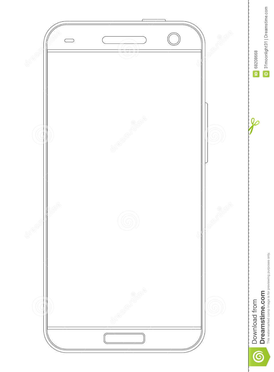 Realistic detailed outline drawing smartphone, black on white.