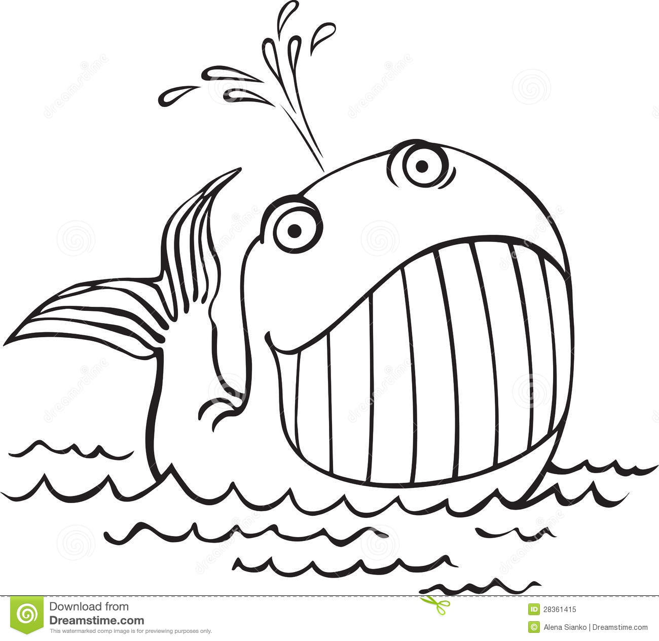 Line Drawing Of Water Animals : Outline drawing of a whale cartoon sea animals royalty