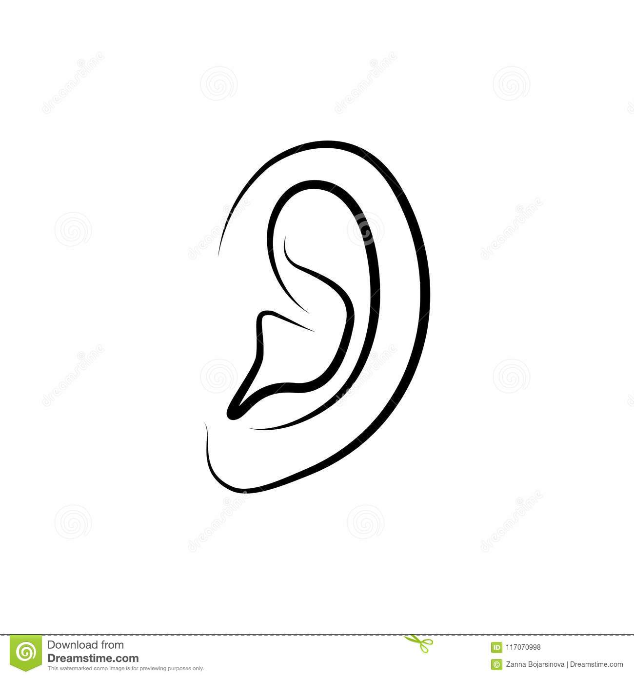 outline ear icon stock vector illustration of outline 117070998