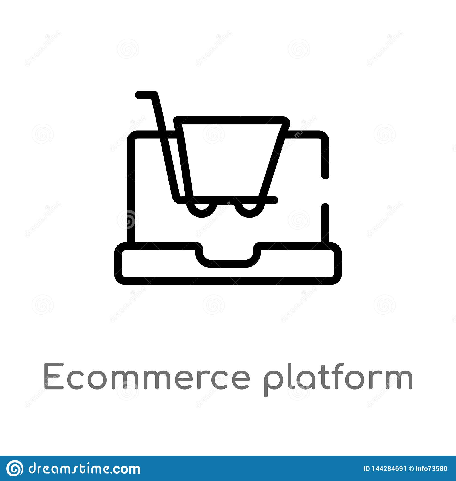outline ecommerce platform vector icon. isolated black simple line element illustration from general-1 concept. editable vector