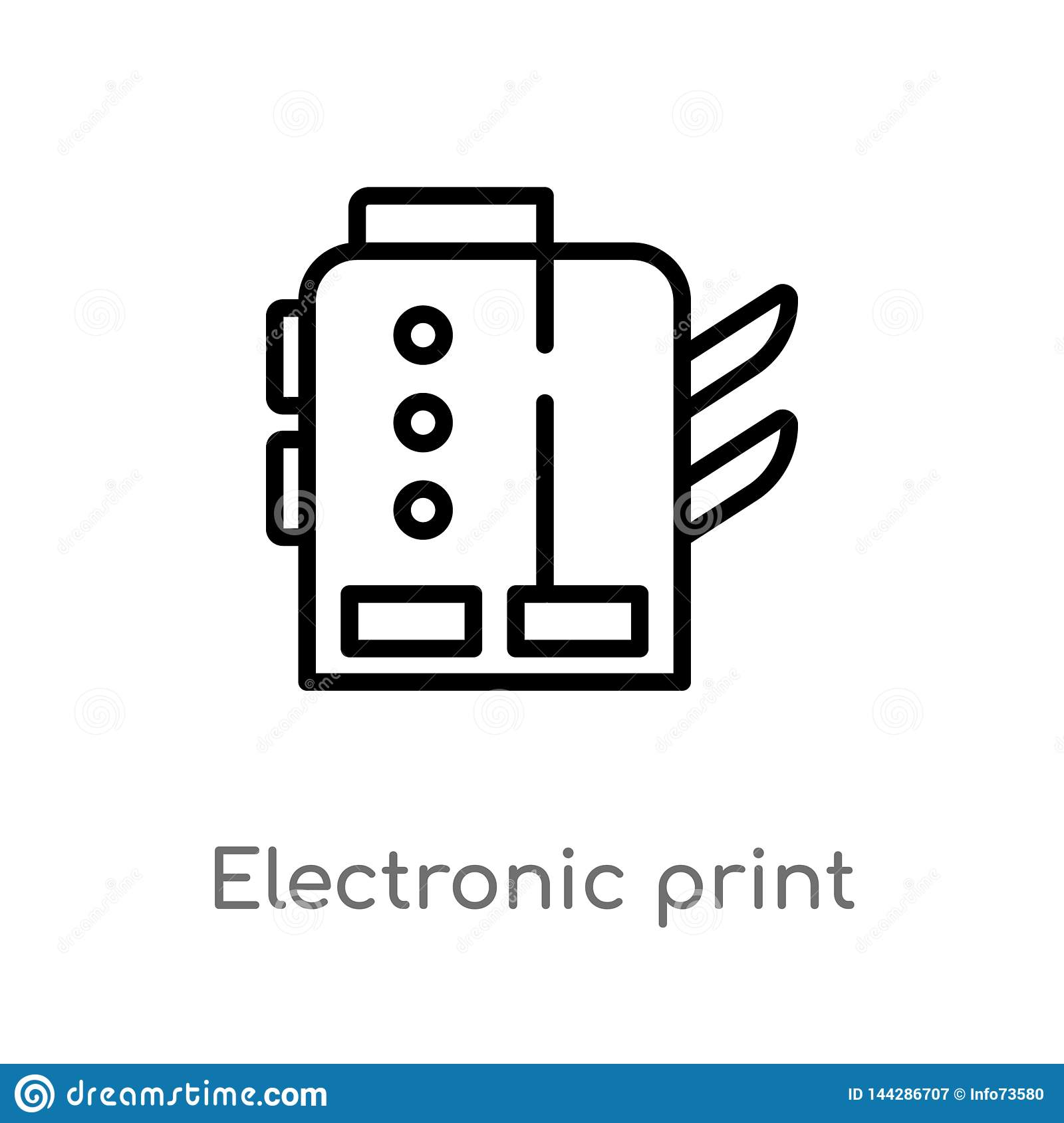 outline electronic print machine vector icon. isolated black simple line element illustration from industry concept. editable