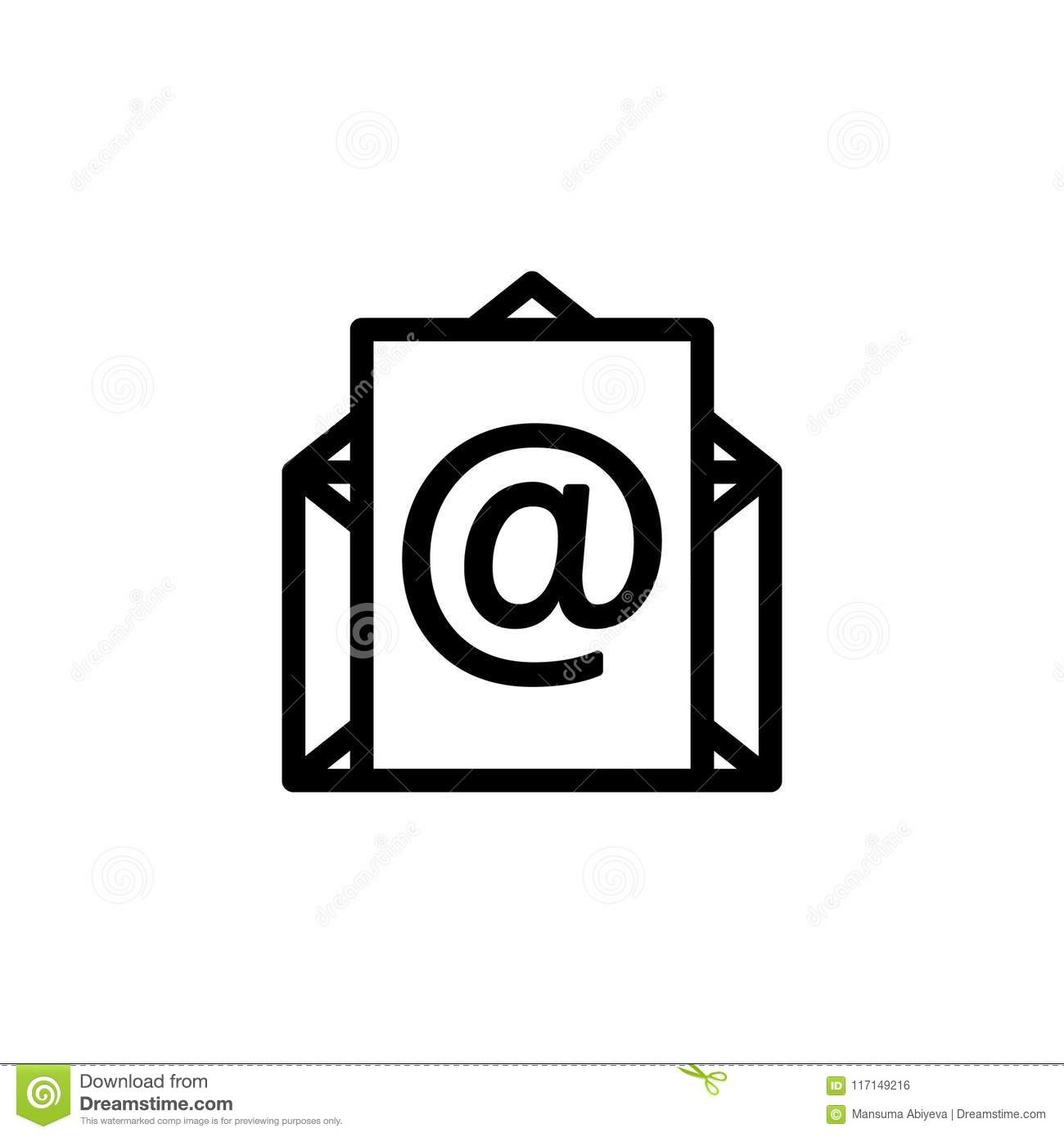 Outline Email Icon Line Mail Symbol For Website Design Stock Vector