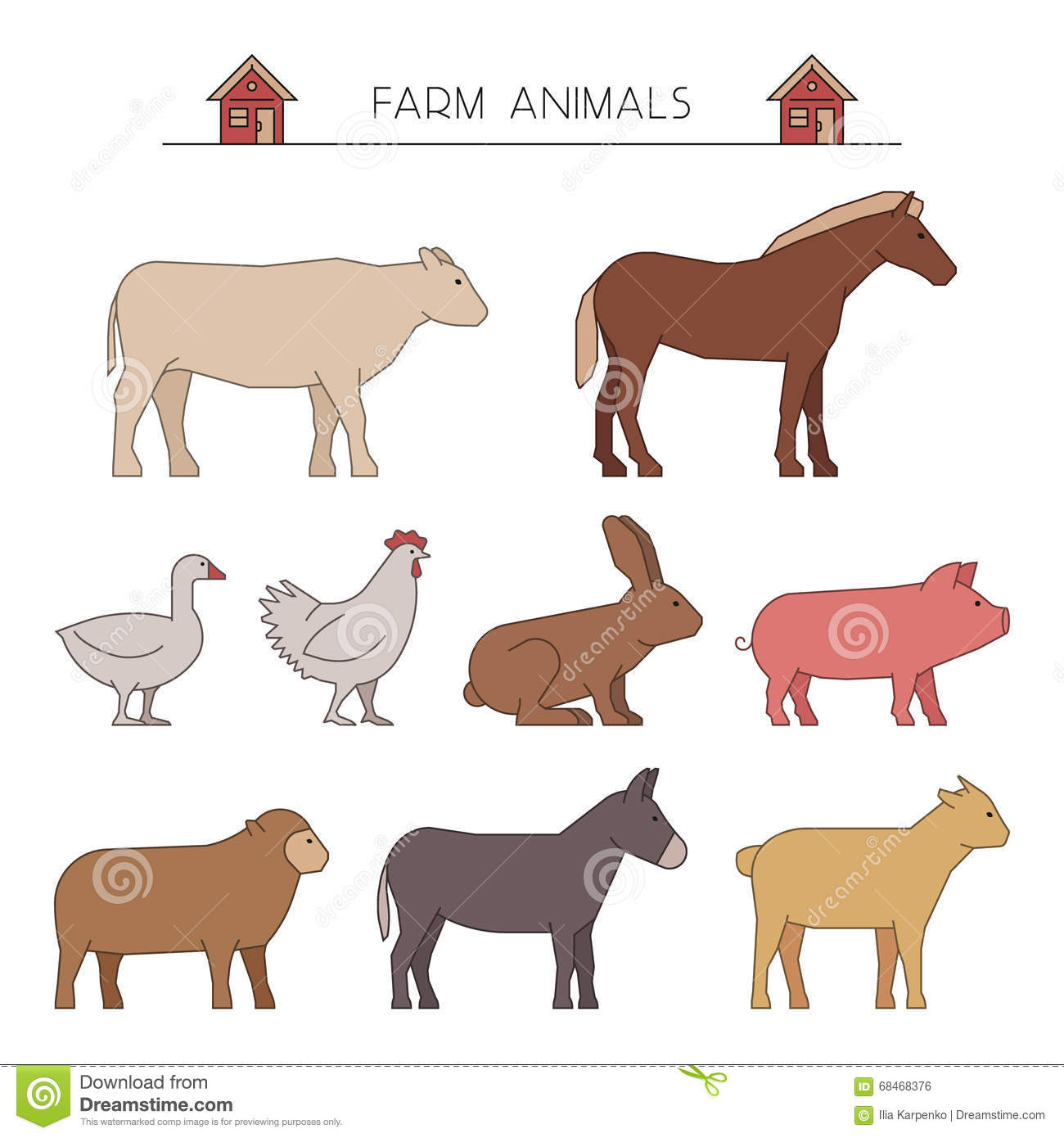 Line Drawings Of Farm Animals : Outline farm animals line stock