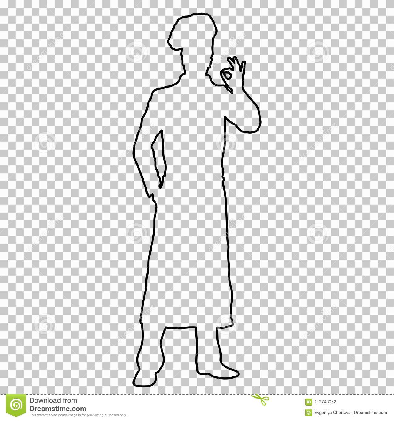 Outline Figure Man Cook Full-length On Transparent Background ...