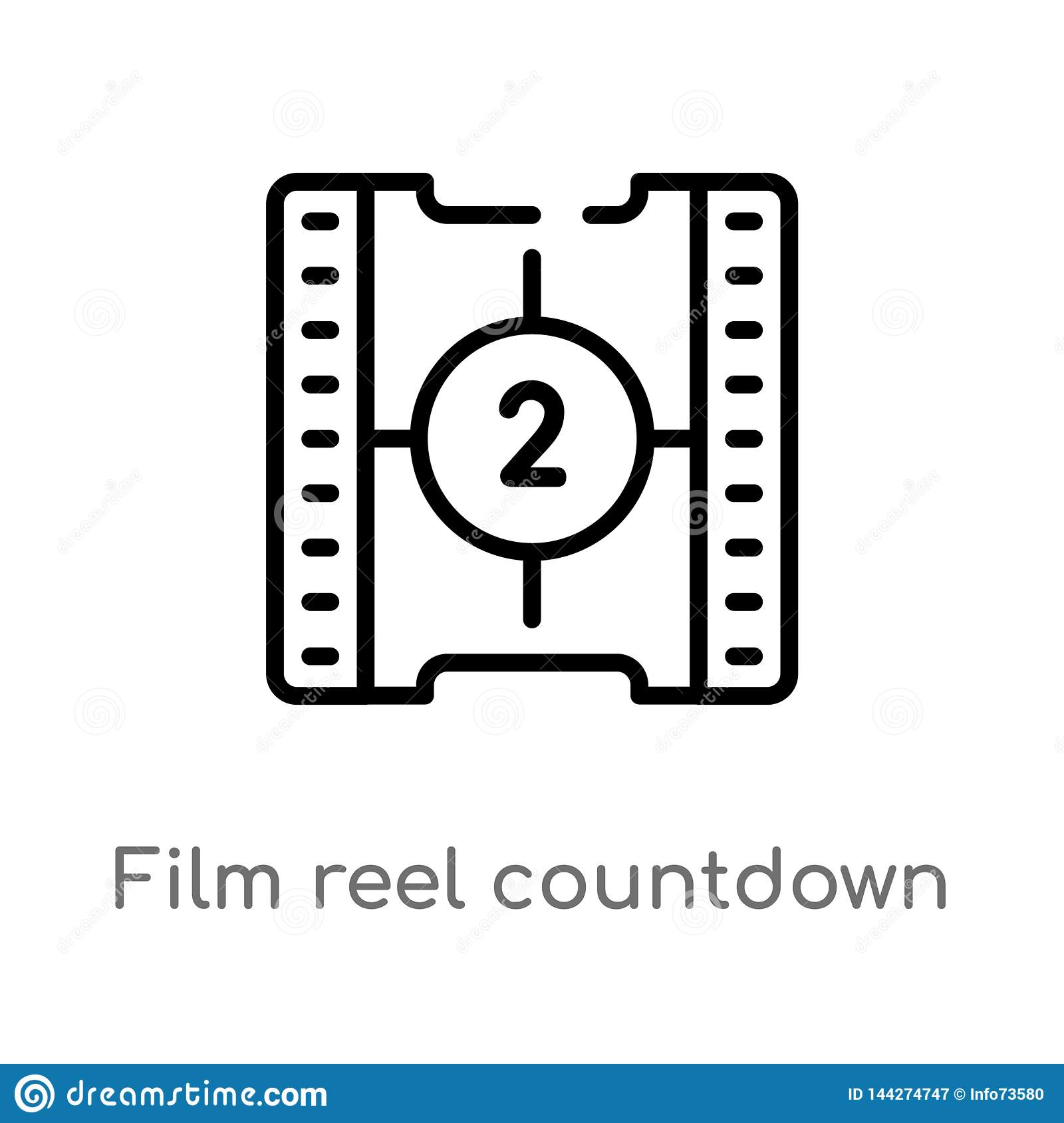 outline film reel countdown number 2 vector icon. isolated black simple line element illustration from cinema concept. editable