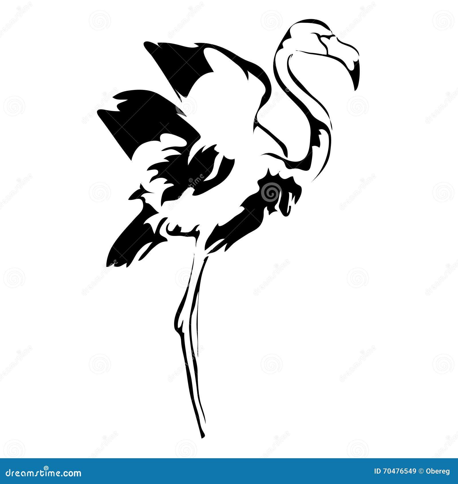 how to draw a cartoon flamingo