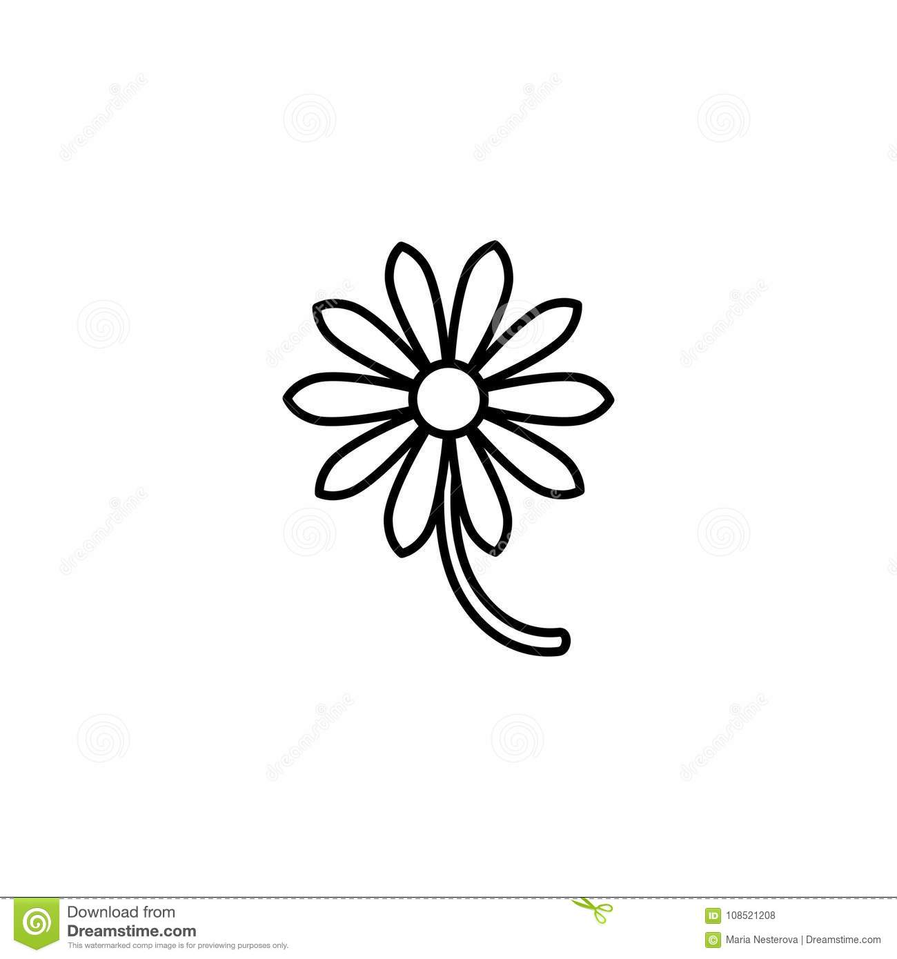Outline Flat Icon Of Daisy Flower With Right Side Stem Isolated On