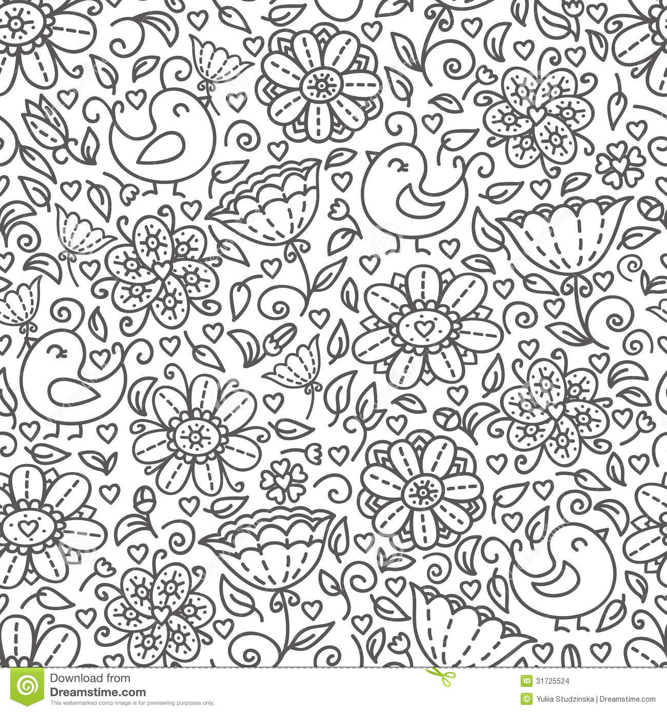 Outline Of Floral Pattern Stock Images Image 31725524