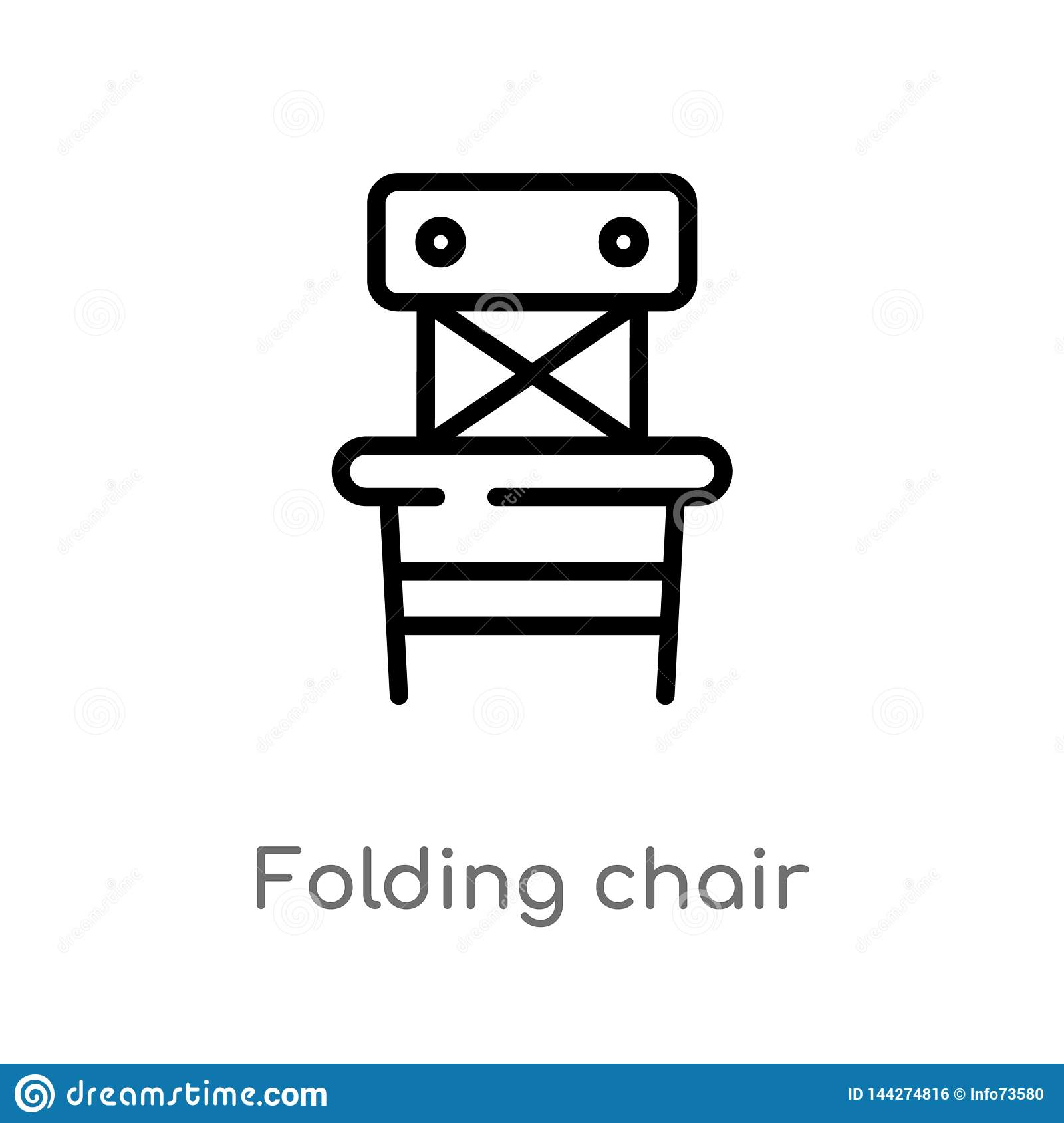 Awesome Outline Folding Chair Vector Icon Isolated Black Simple Ncnpc Chair Design For Home Ncnpcorg