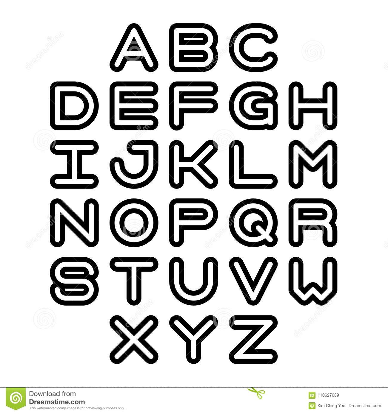 Outline Font And Alphabet. Vector Alphabet Letters. Stock Vector
