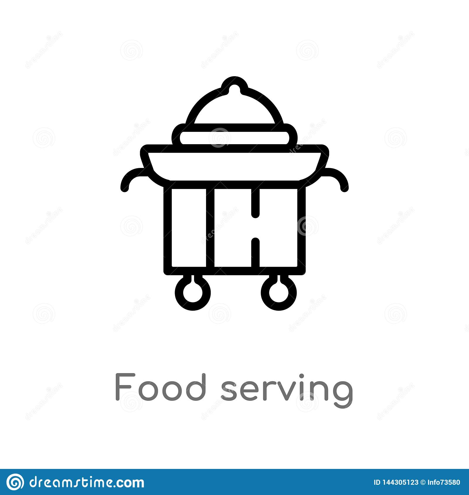 outline food serving vector icon. isolated black simple line element illustration from fast food concept. editable vector stroke
