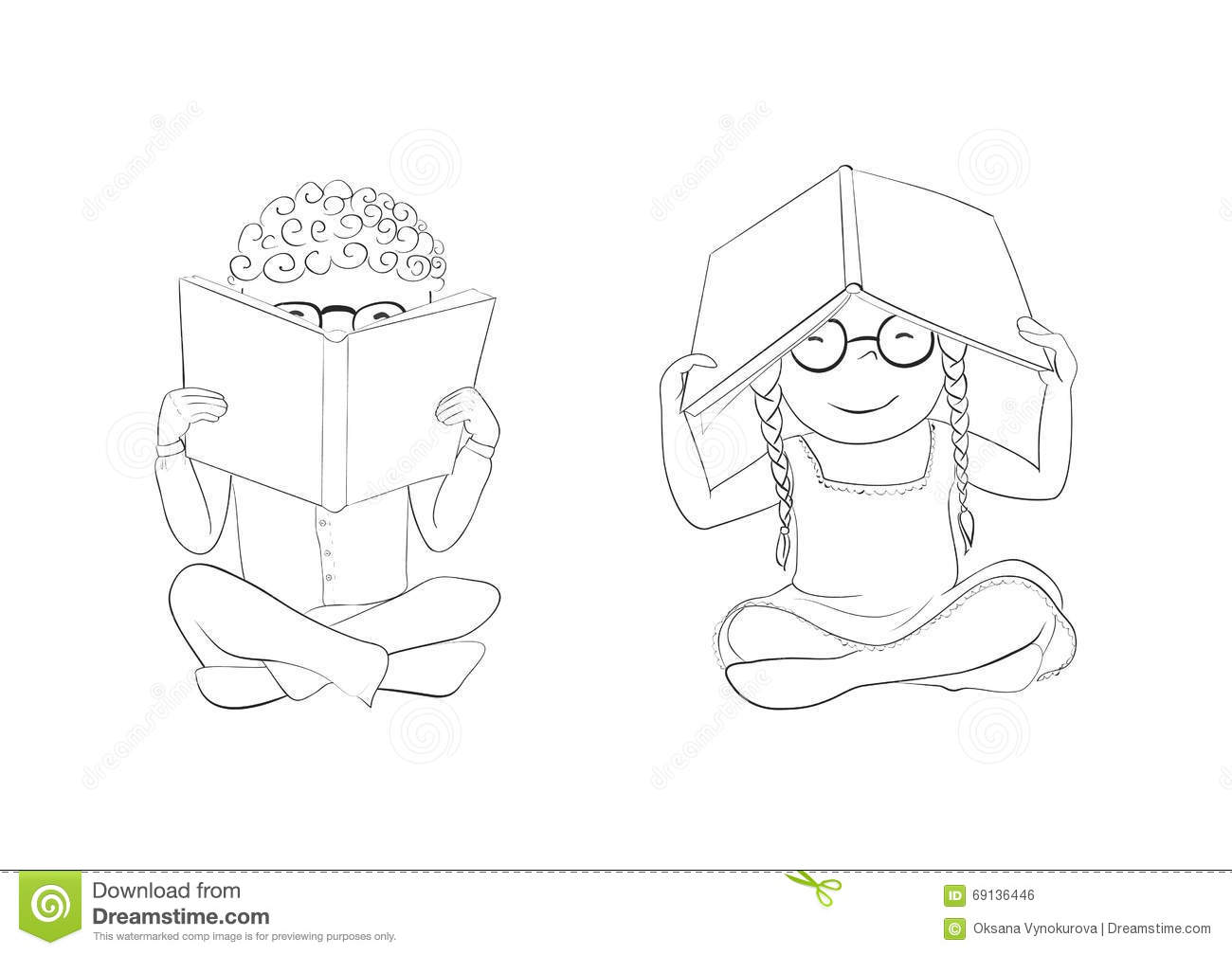 outline funny kids reading books for coloring stock vector image