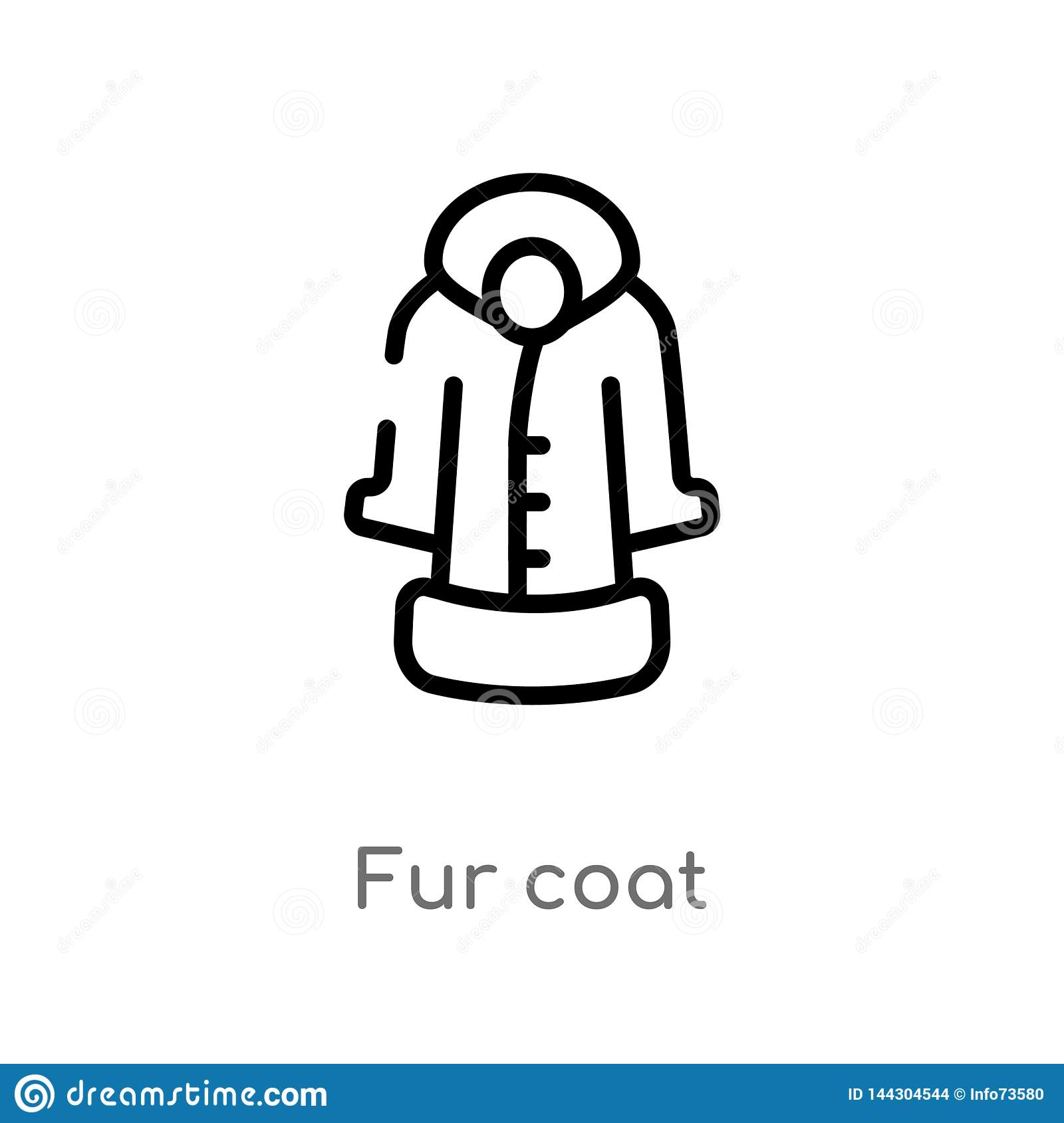 b17102d3987 outline fur coat vector icon. isolated black simple line element  illustration from winter concept.