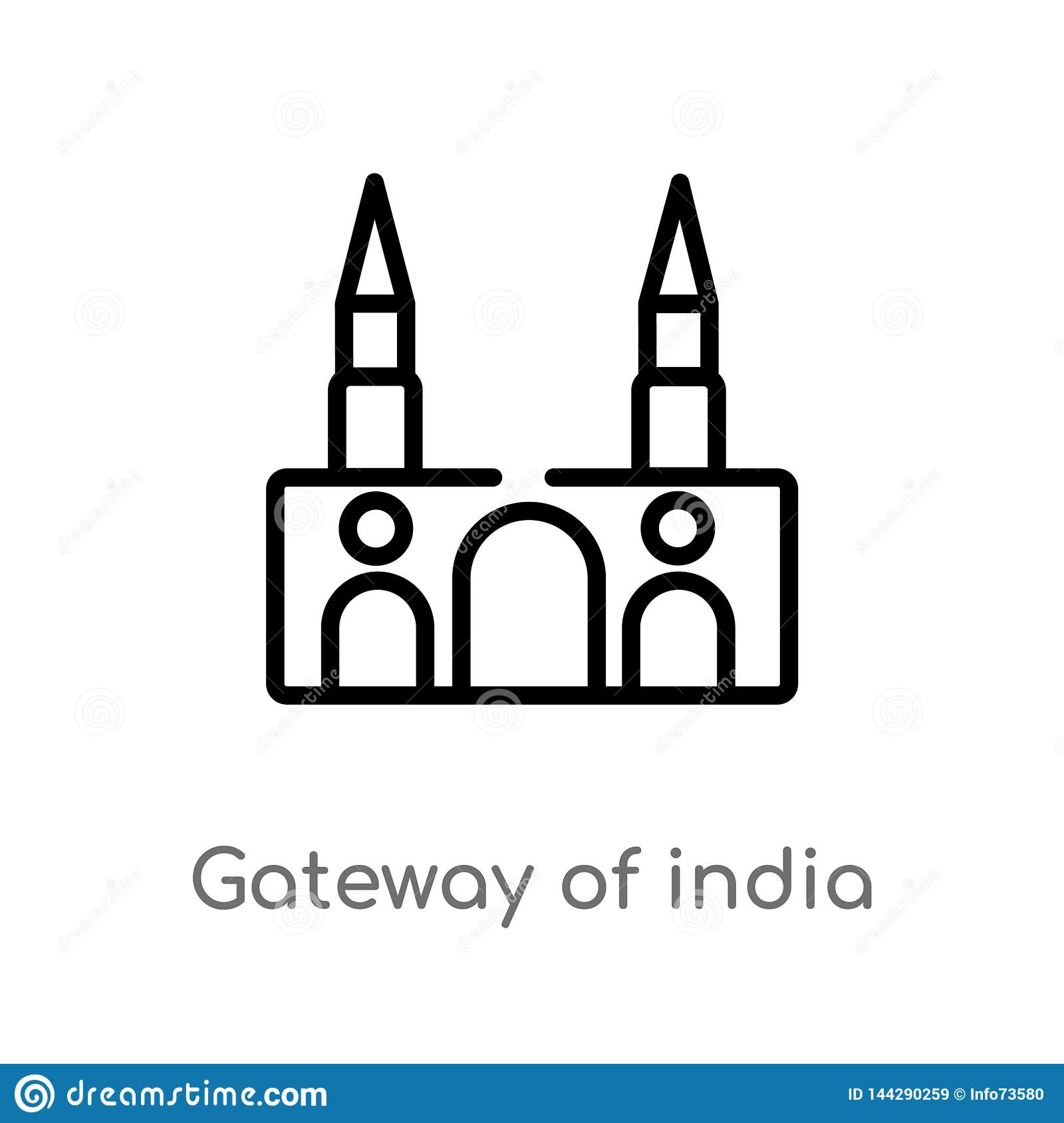 outline gateway of india vector icon. isolated black simple line element illustration from monuments concept. editable vector