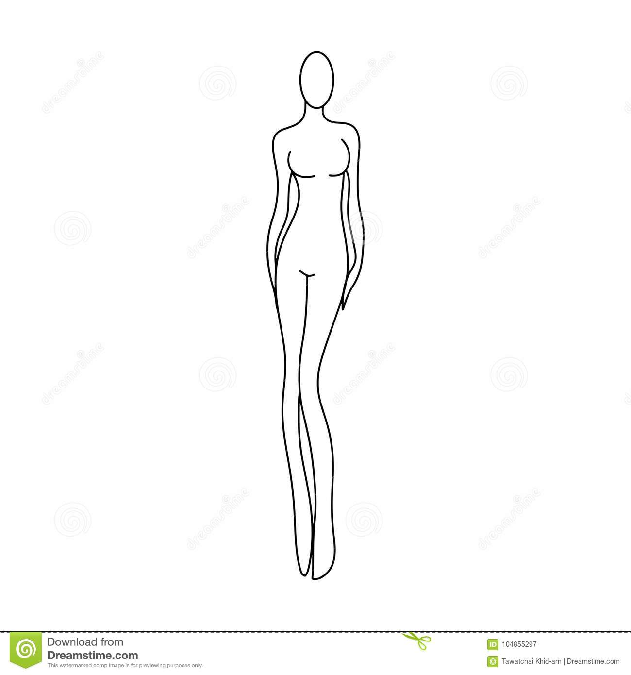 outline girl model template for fashion women figure sketching f
