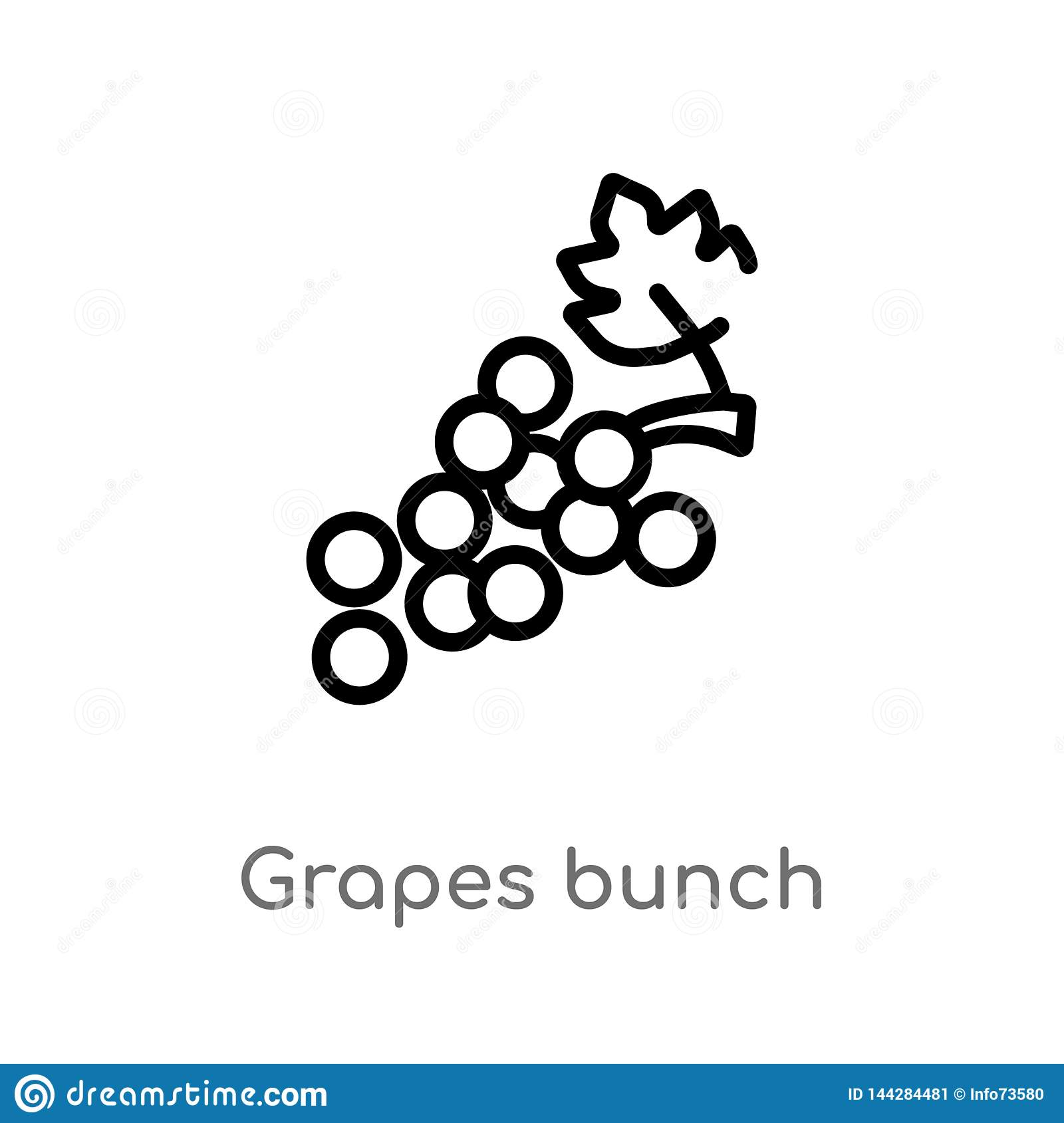 outline grapes bunch vector icon. isolated black simple line element illustration from greece concept. editable vector stroke