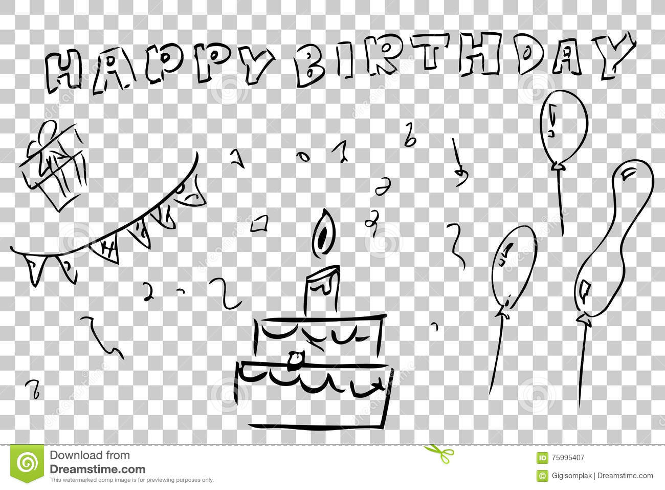 Outline Hand Draw Sketch Of Birthday Greeting Card Element Design