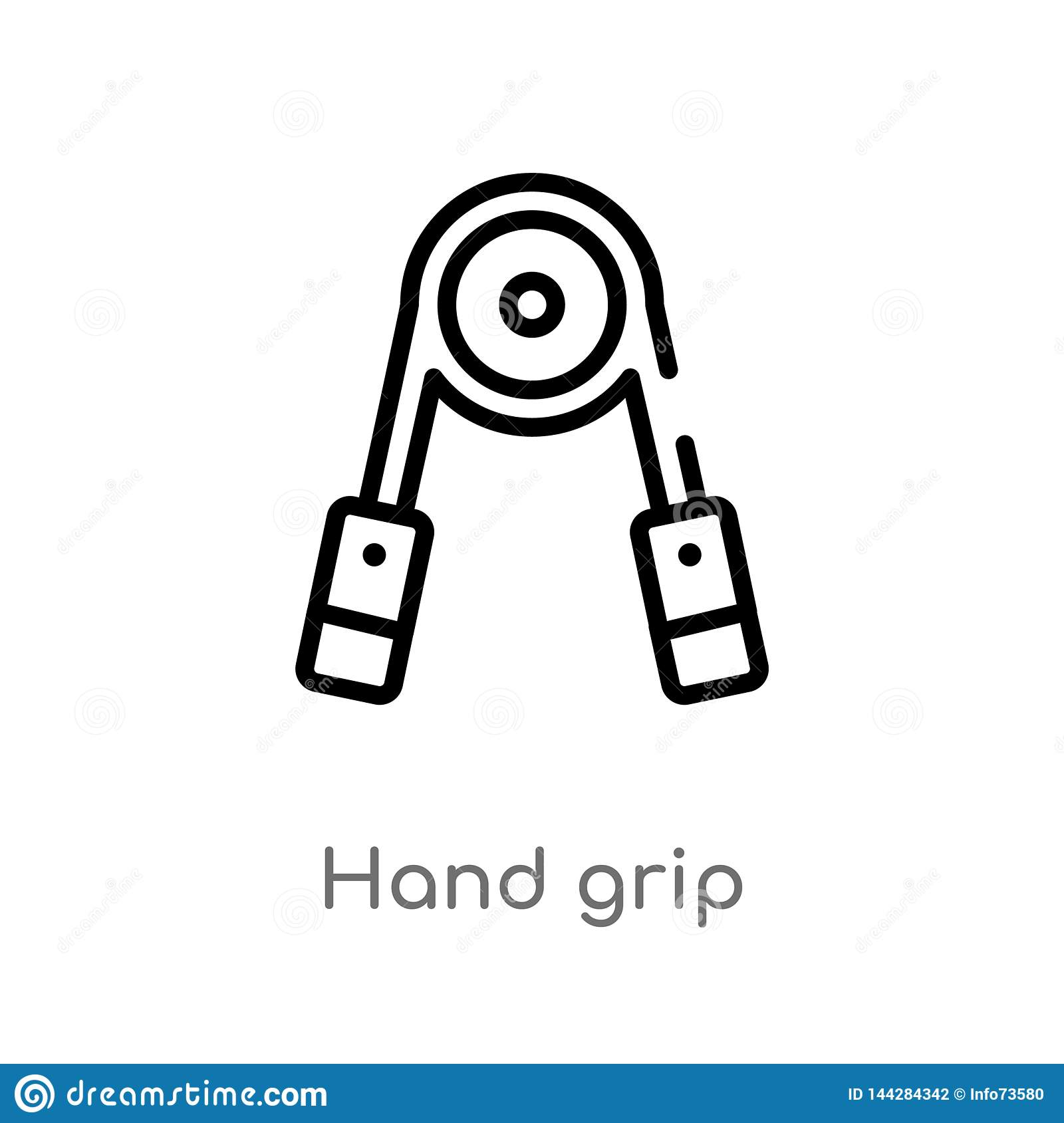 outline hand grip vector icon. isolated black simple line element illustration from gym equipment concept. editable vector stroke