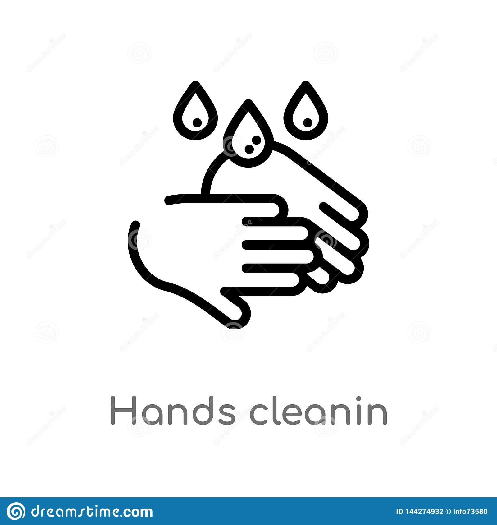 outline hands cleanin vector icon. isolated black simple line element illustration from cleaning concept. editable vector stroke