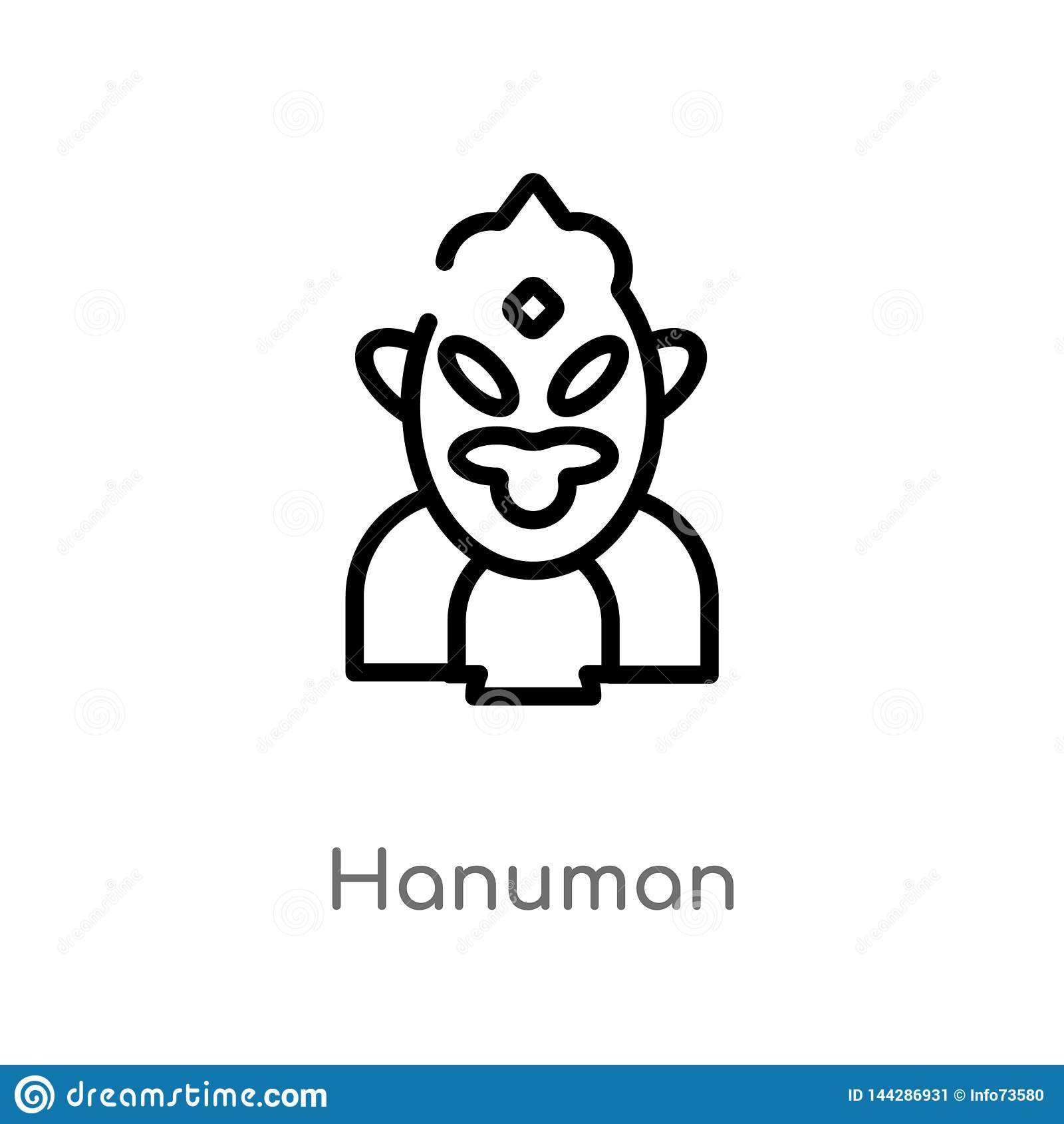 outline hanuman vector icon. isolated black simple line element illustration from india concept. editable vector stroke hanuman