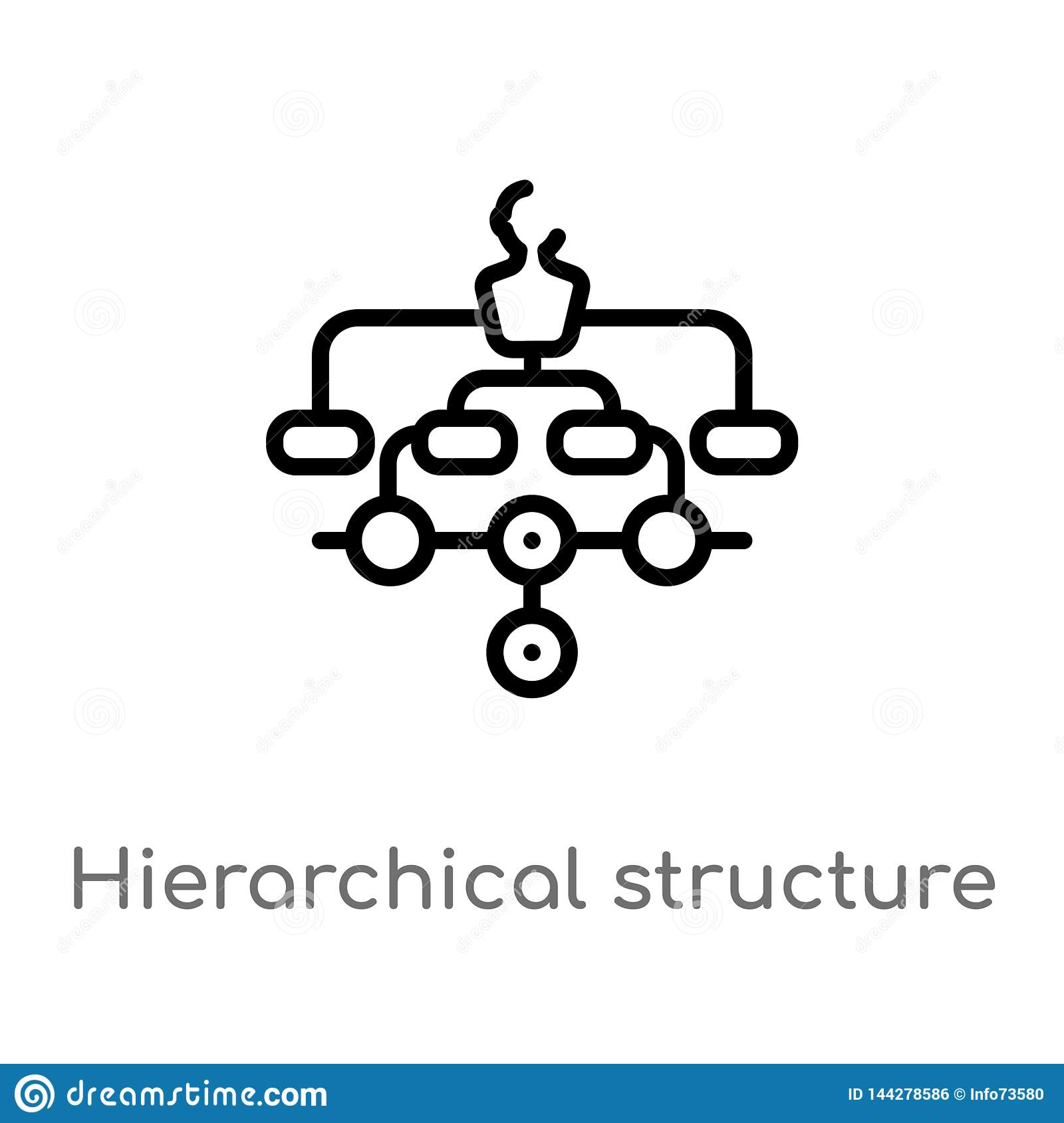 outline hierarchical structure vector icon. isolated black simple line element illustration from digital economy concept. editable