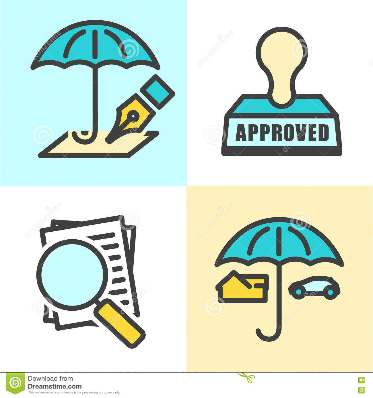 Outline Home And Auto Insurance Icons Vector Illustration