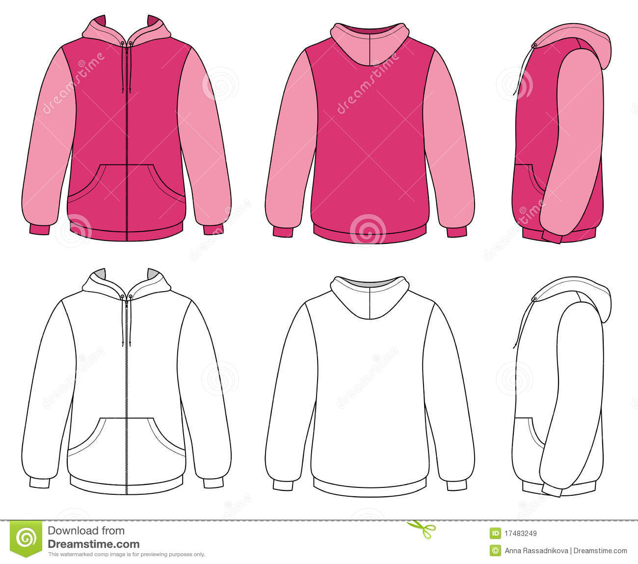 Hoodie Or Sweatshirt Template With Zipper Stock Vector ...